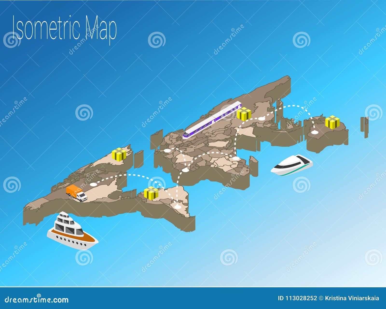 Concepto isométrico del mundo del mapa ejemplo plano 3d