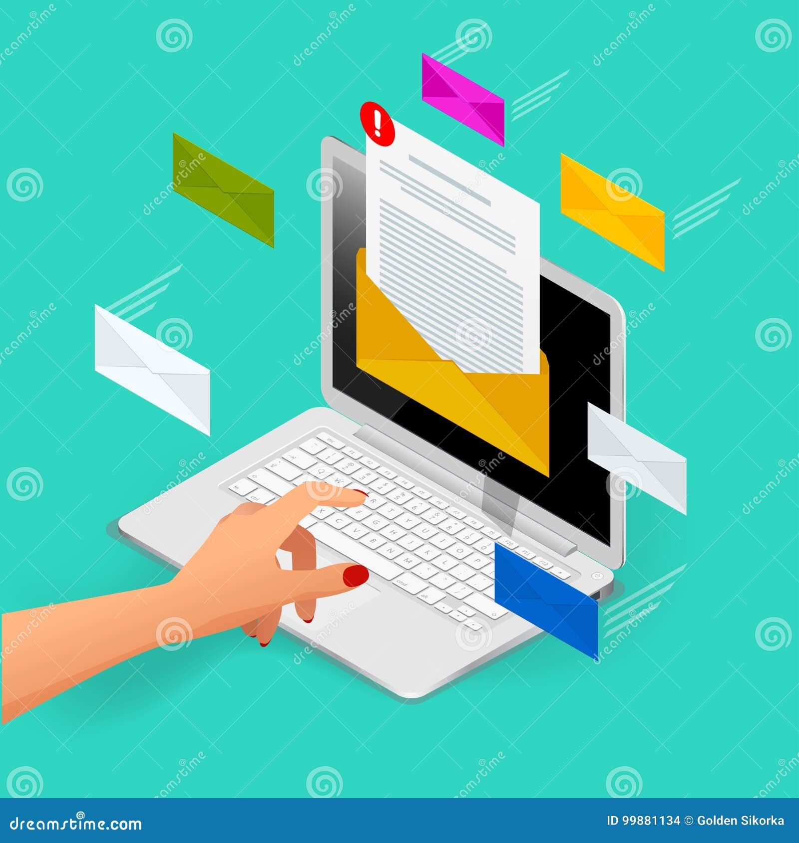 Concepto isométrico del vector del correo electrónico entrante Recepción de mensajes Ordenador portátil con el sobre y documento