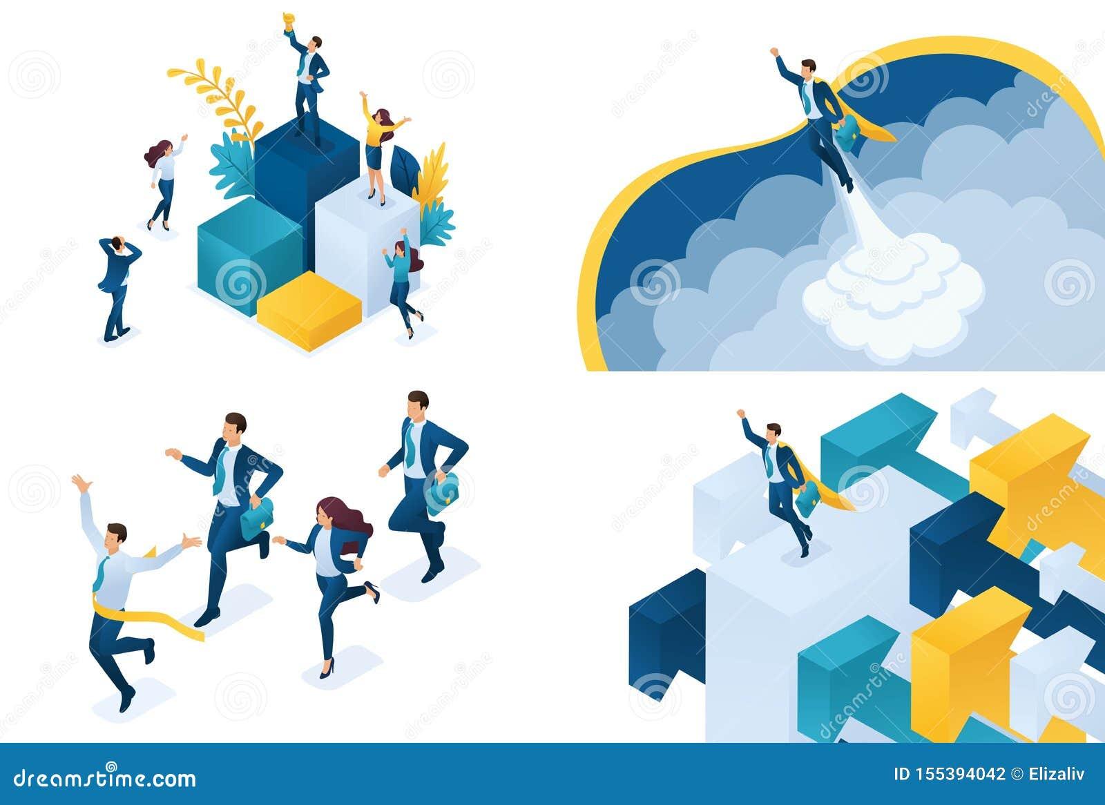 Concepto isométrico determinado de negocio acertado Conceptos modernos del ejemplo para el desarrollo del sitio web y del sitio w