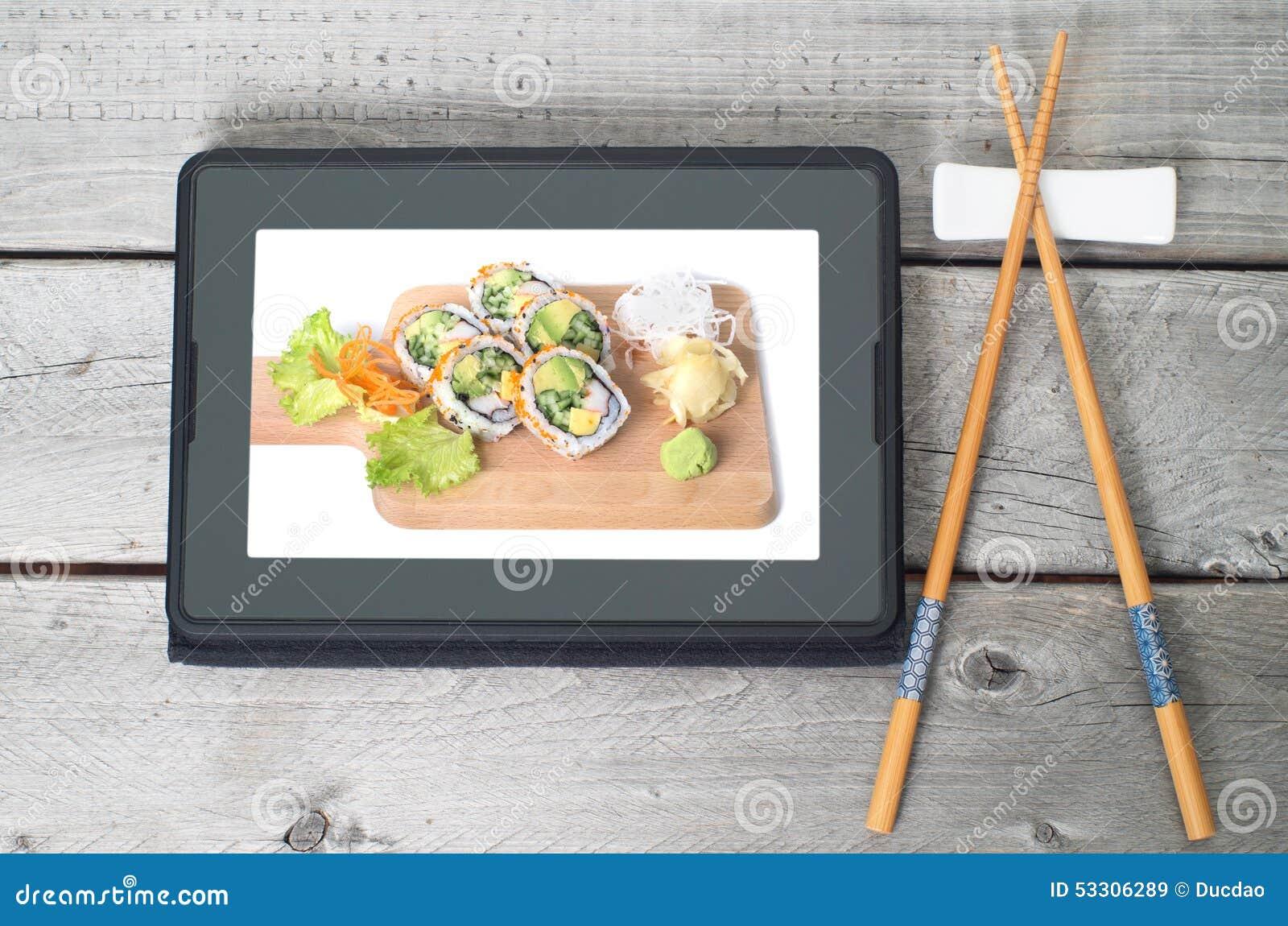 Concepto japonés en línea de la entrega de la comida