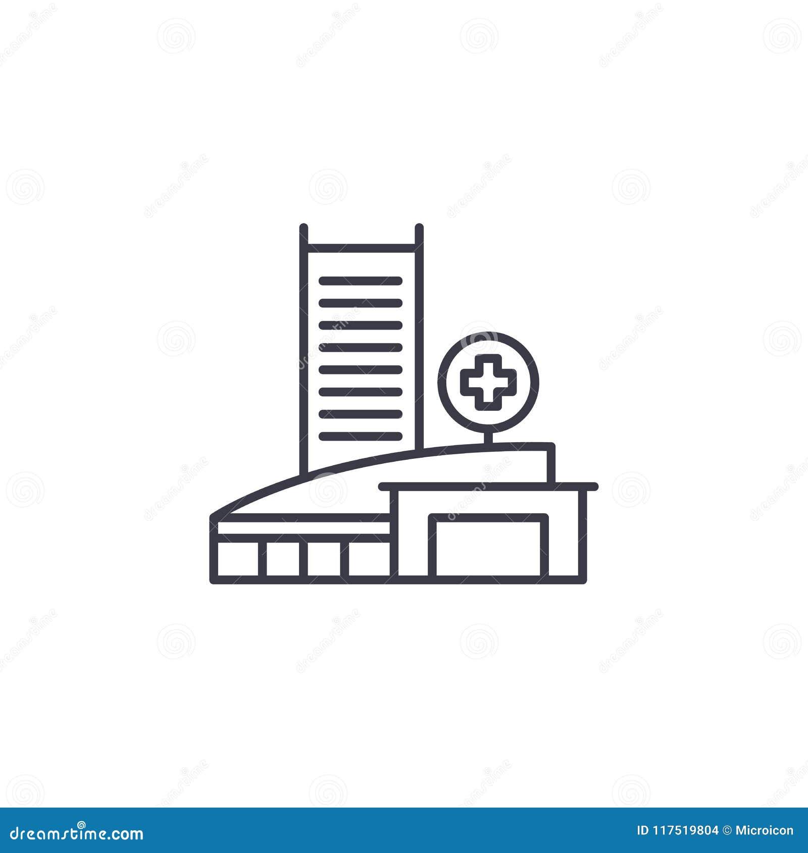 Concepto linear del icono del centro médico Muestra médica del vector de la línea central, símbolo, ejemplo
