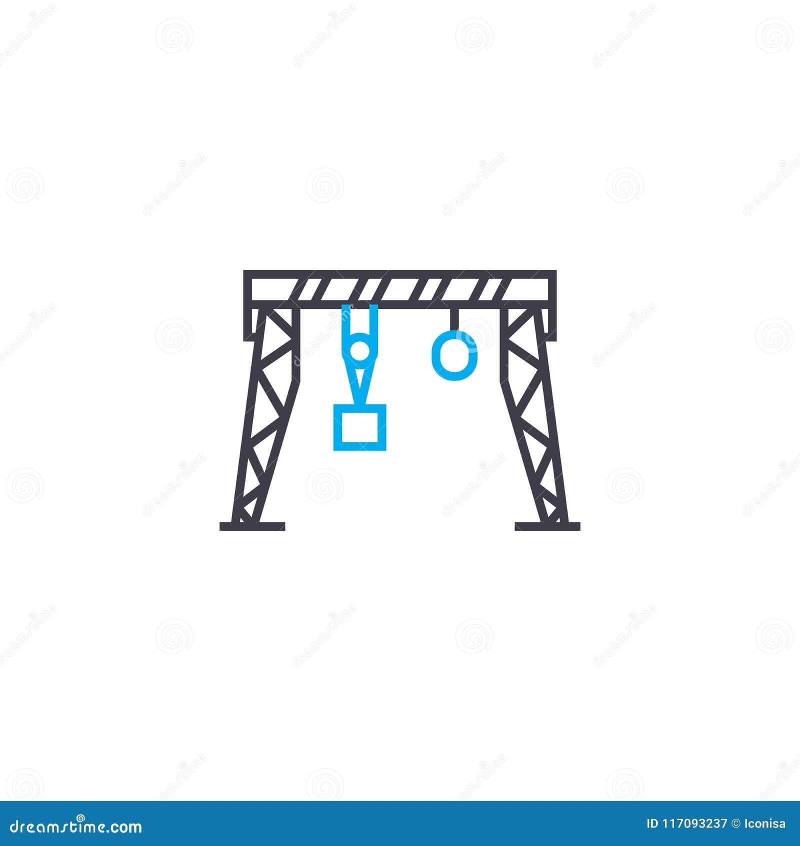 Concepto linear del icono de la grúa de pórtico Línea muestra del vector, símbolo, ejemplo de la grúa de pórtico