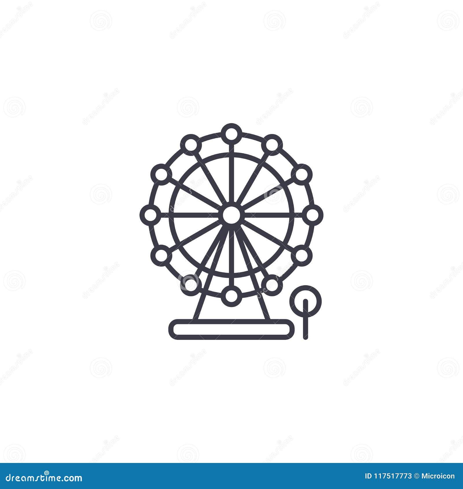 Concepto linear del icono de la noria Línea muestra del vector, símbolo, ejemplo de la noria