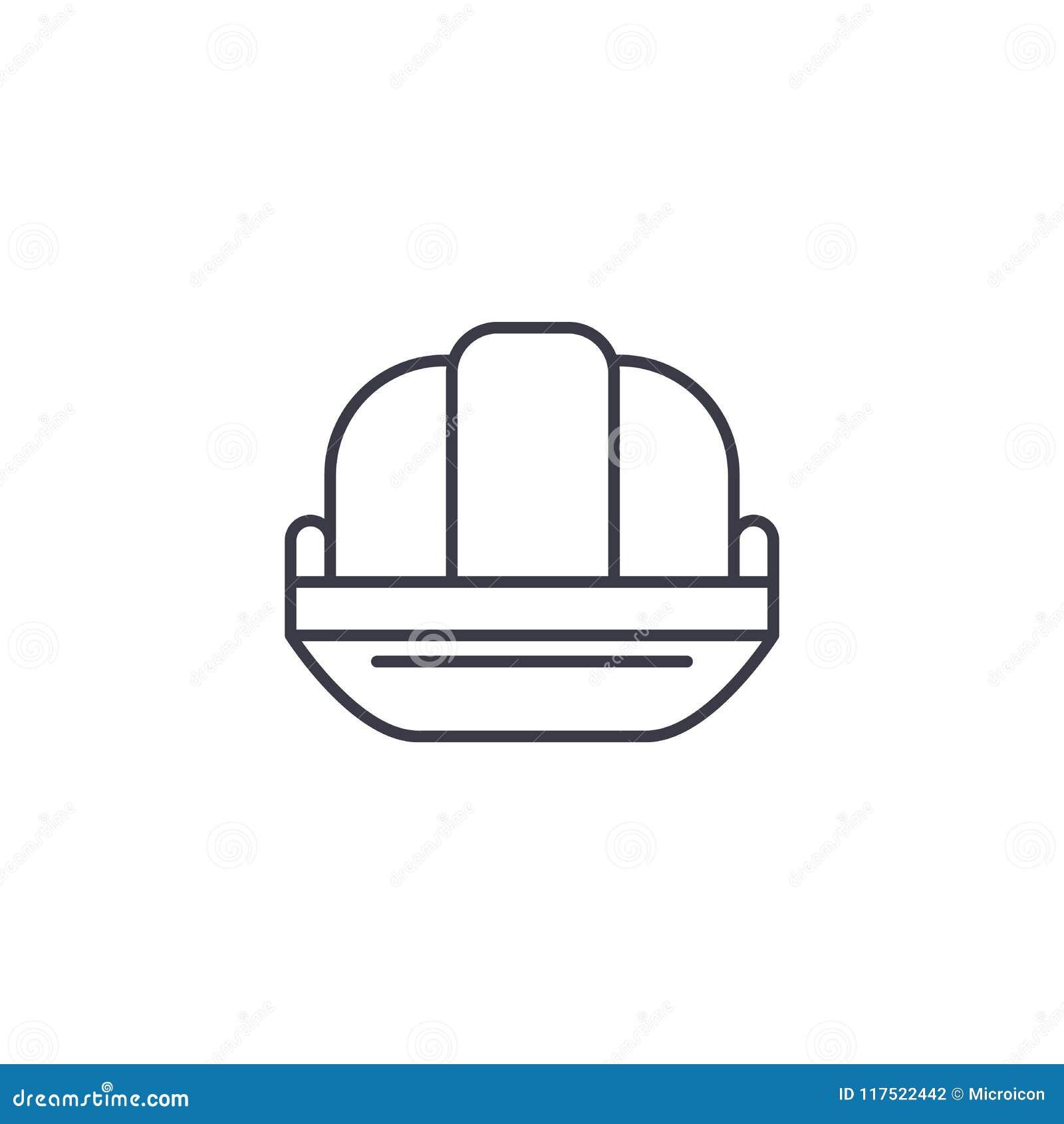 Concepto linear del icono del sombrero de lata Línea muestra del vector, símbolo, ejemplo del sombrero de lata