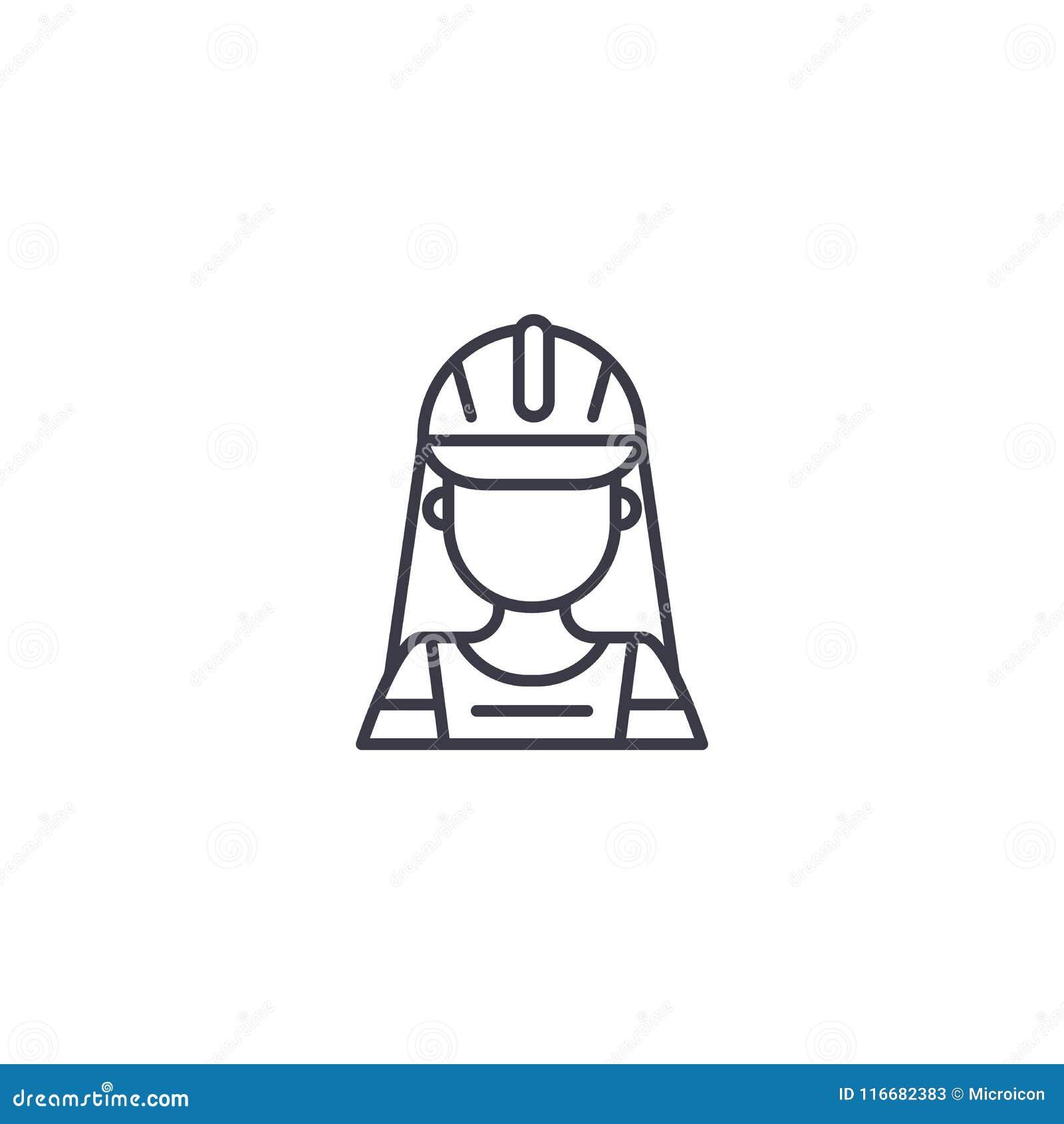Concepto linear del icono del trabajador de mujer de la construcción Línea muestra del vector, símbolo, ejemplo del trabajador de