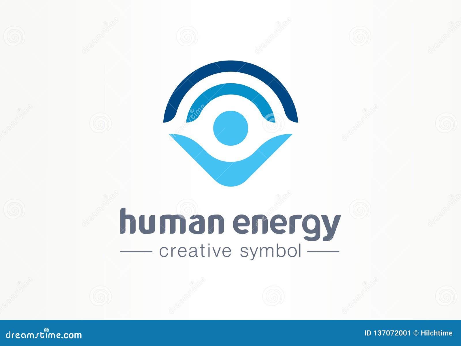 Concepto médico del símbolo creativo humano de la energía Logotipo de la atención sanitaria del negocio del extracto de la forma