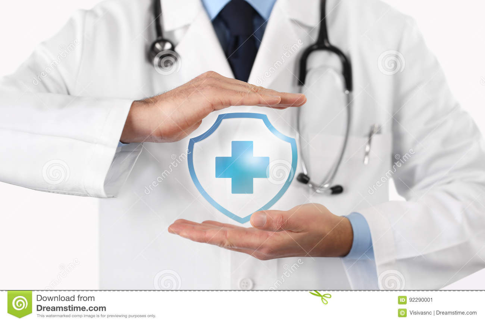 Concepto médico del seguro médico, símbolo cruzado