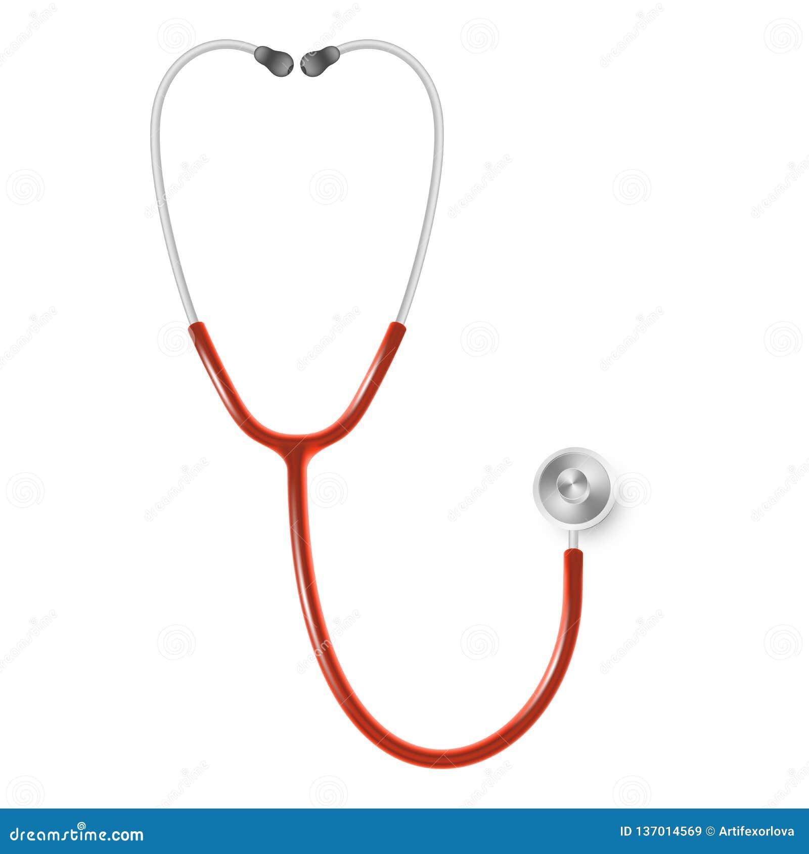 Concepto médico y de la atención sanitaria, estetoscopio del doctor s aislado en el fondo blanco EPS 10