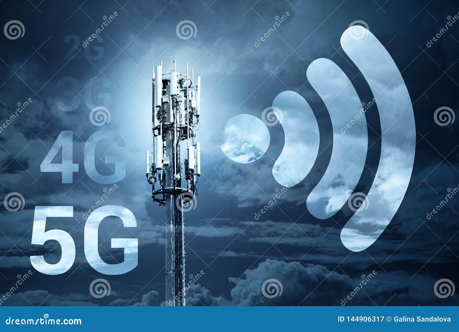Concepto móvil de la tecnología de la comunicación inalámbrica de la conexión a internet de la velocidad rápida 5G
