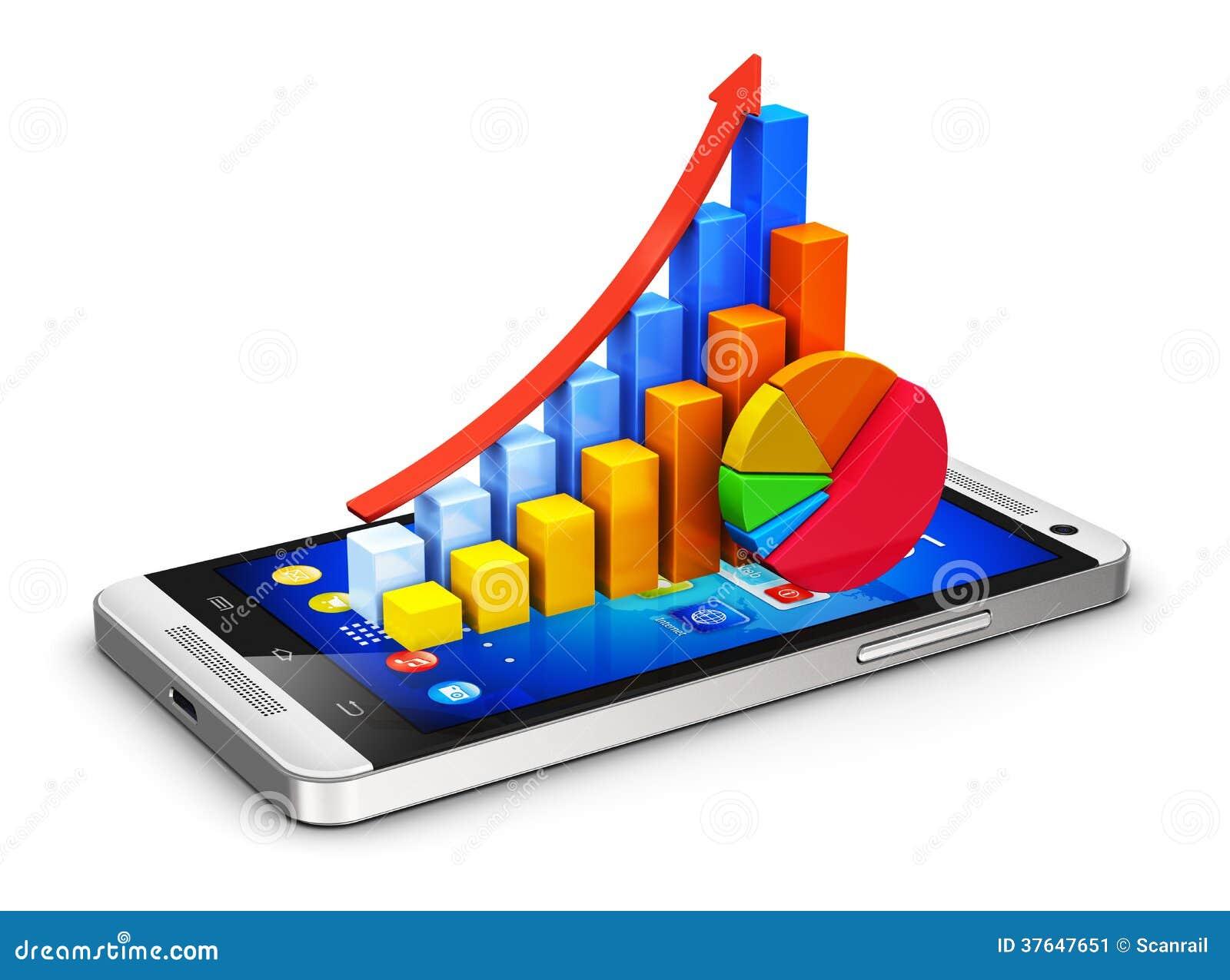 Concepto móvil de las finanzas y del analytics