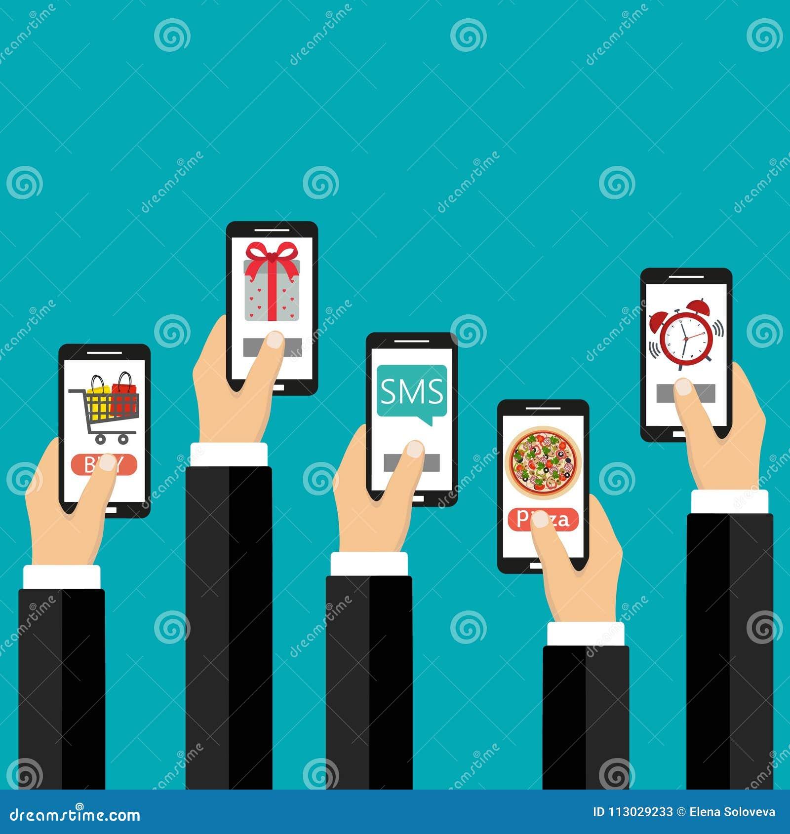 Concepto móvil de los apps Ejemplo plano del diseño Mano humana con los iconos del teléfono móvil y del interfaz