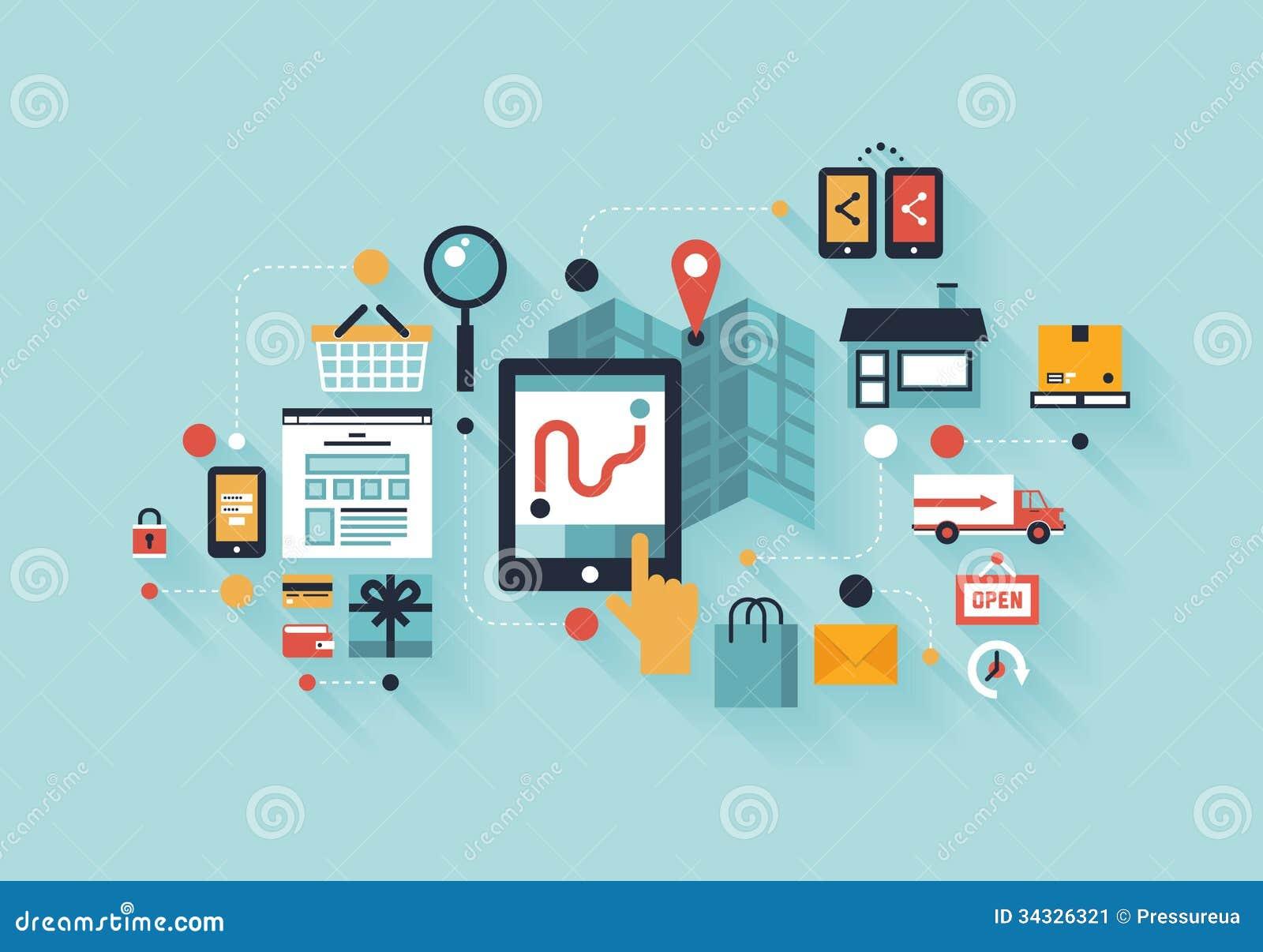 Concepto móvil del ejemplo de las compras