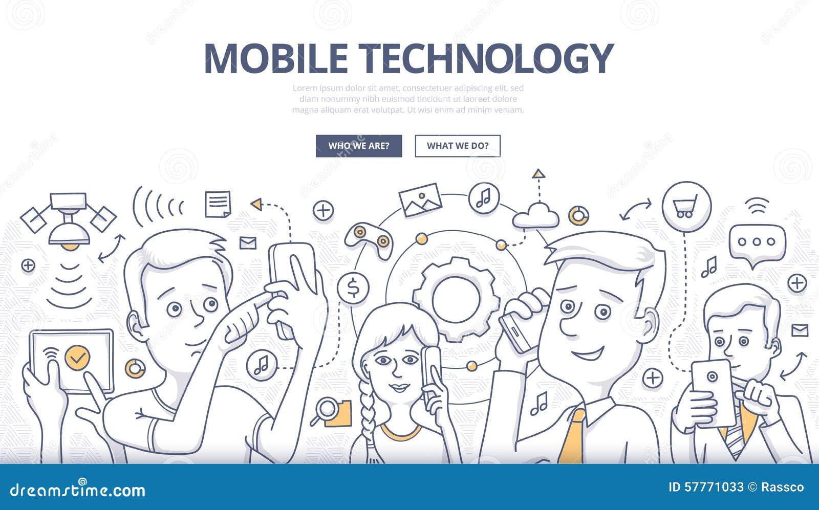 Concepto móvil del garabato de la tecnología
