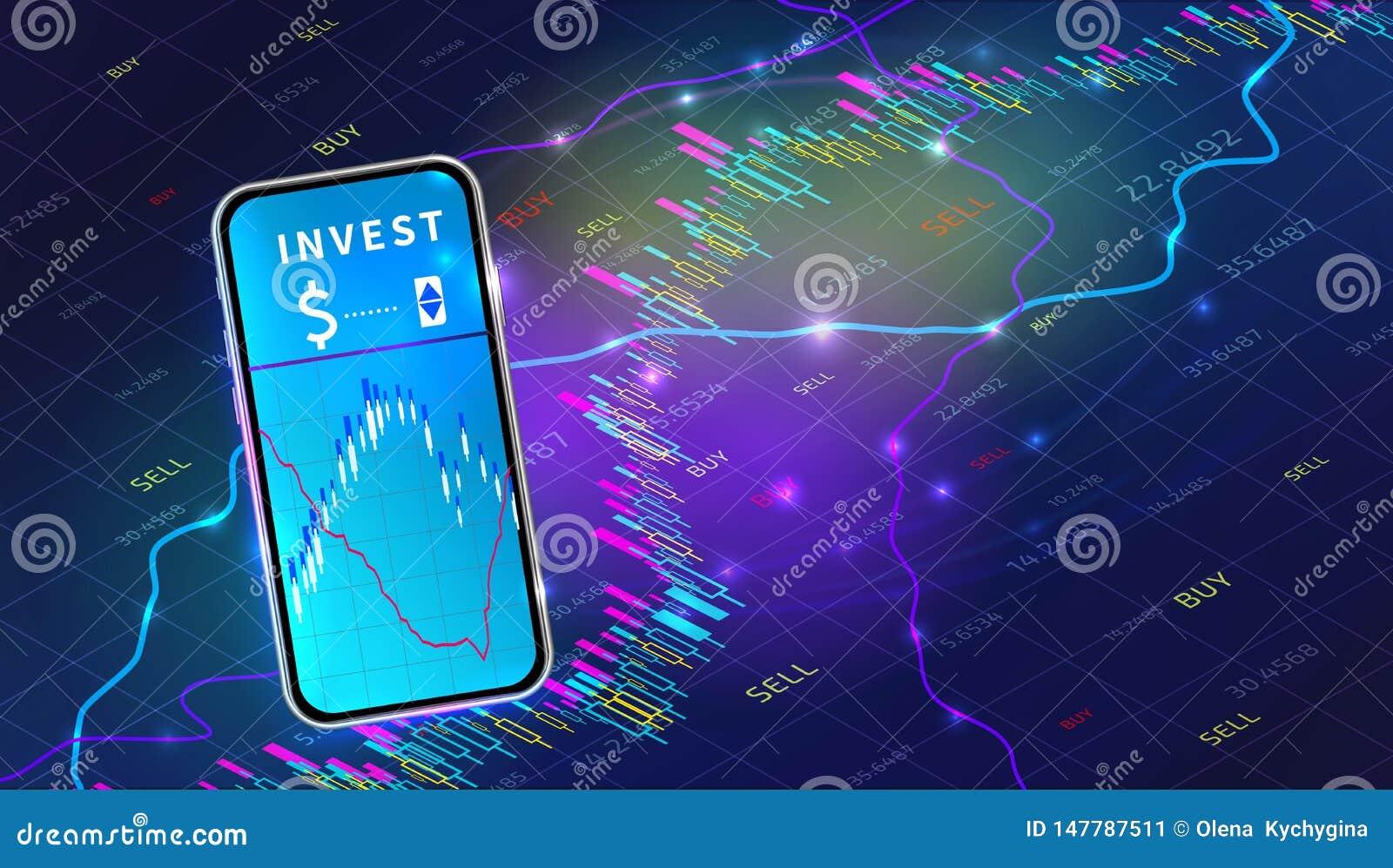 Concepto m?vil del app del intercambio del mercado de acci?n Dise?o comercial de la carta del gr?fico de las divisas Tecnolog?a d