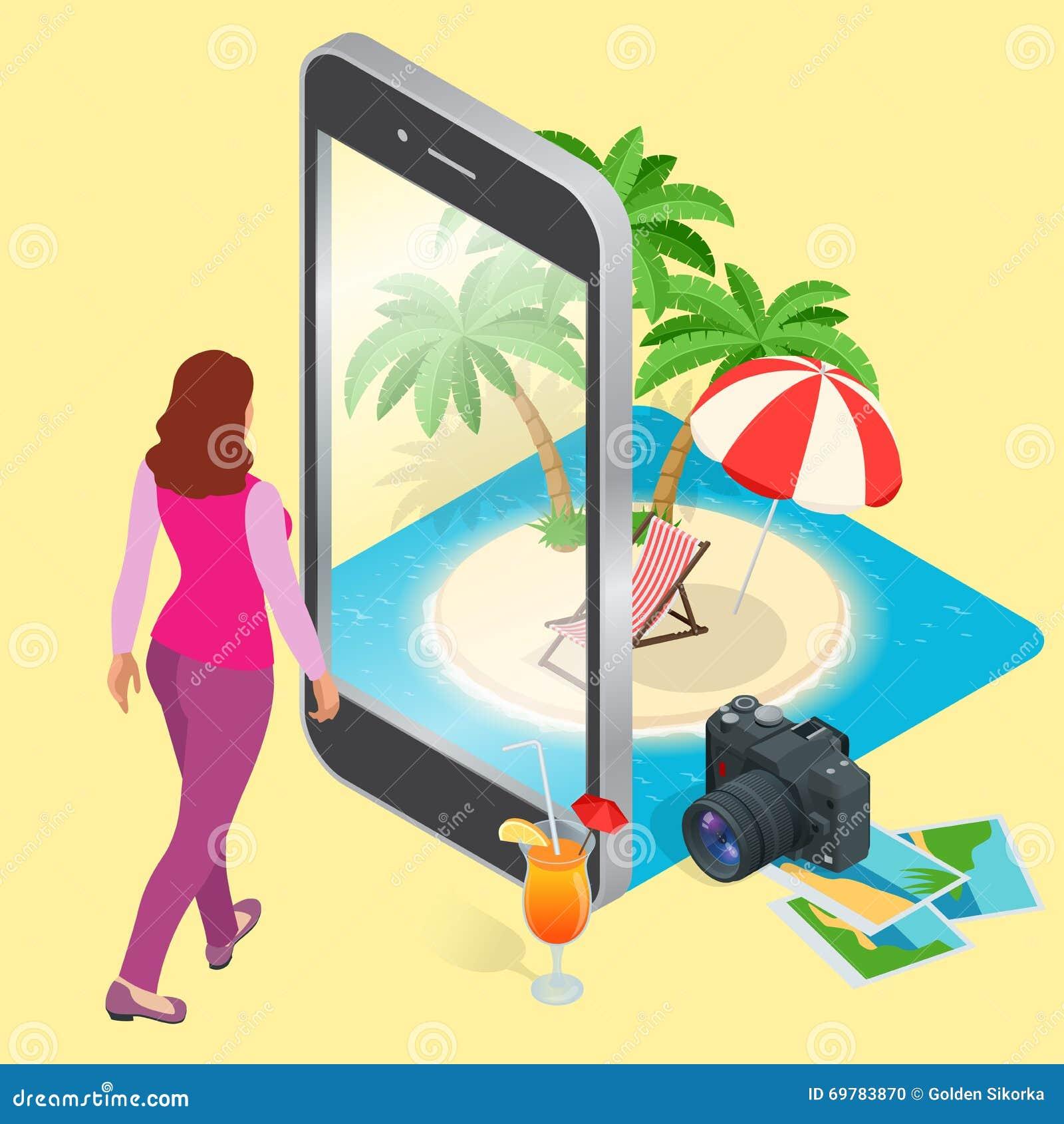 Concepto moderno del vector de viajar, reservando en línea, planeando vacaciones de verano Reservación de hotel turístico de los