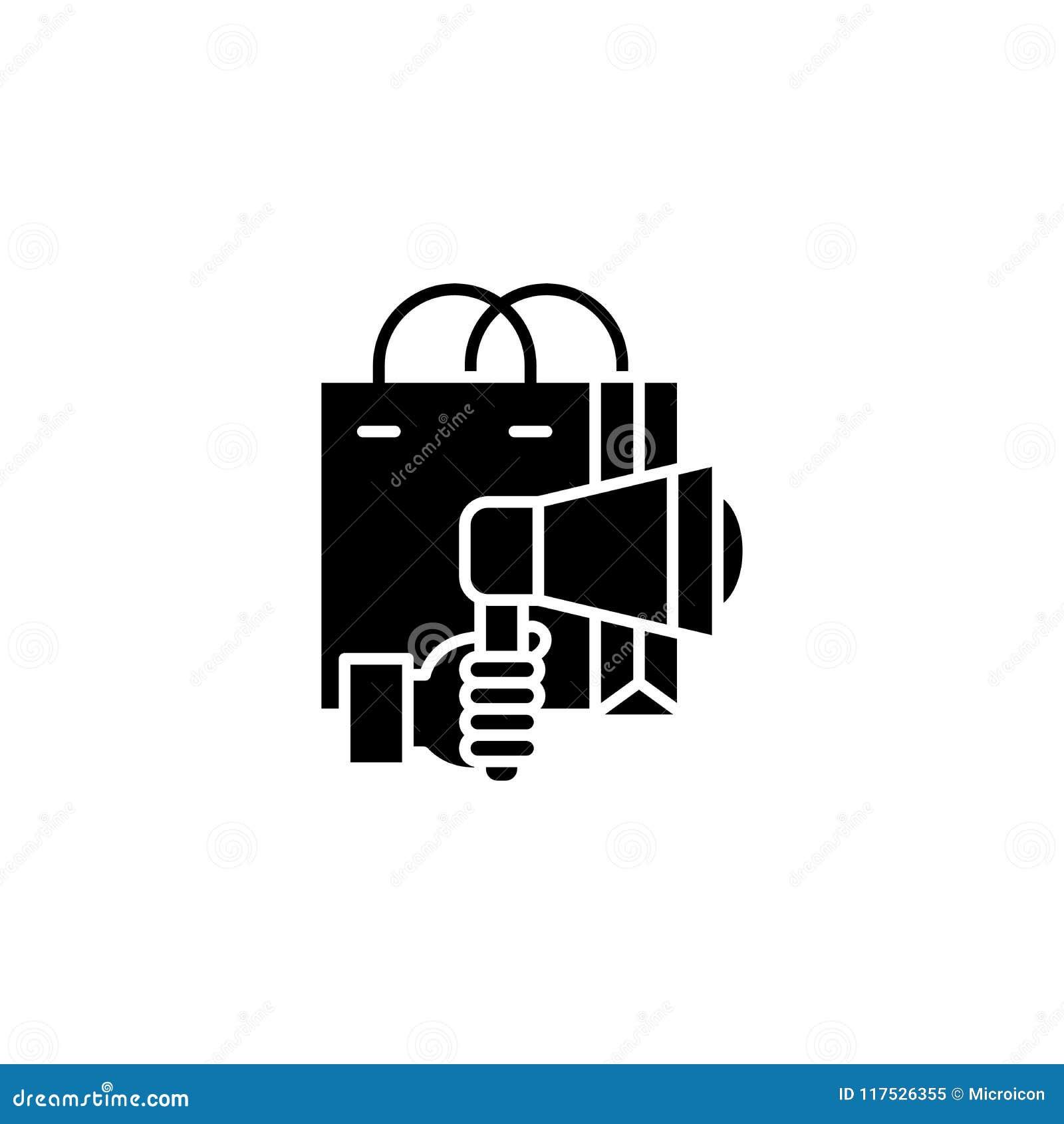 Concepto negro del icono de la campaña de marketing Símbolo plano del vector de la campaña de marketing, muestra, ejemplo