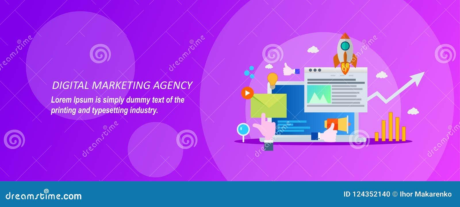 Concepto para la agencia digital del márketing en un fondo violeta