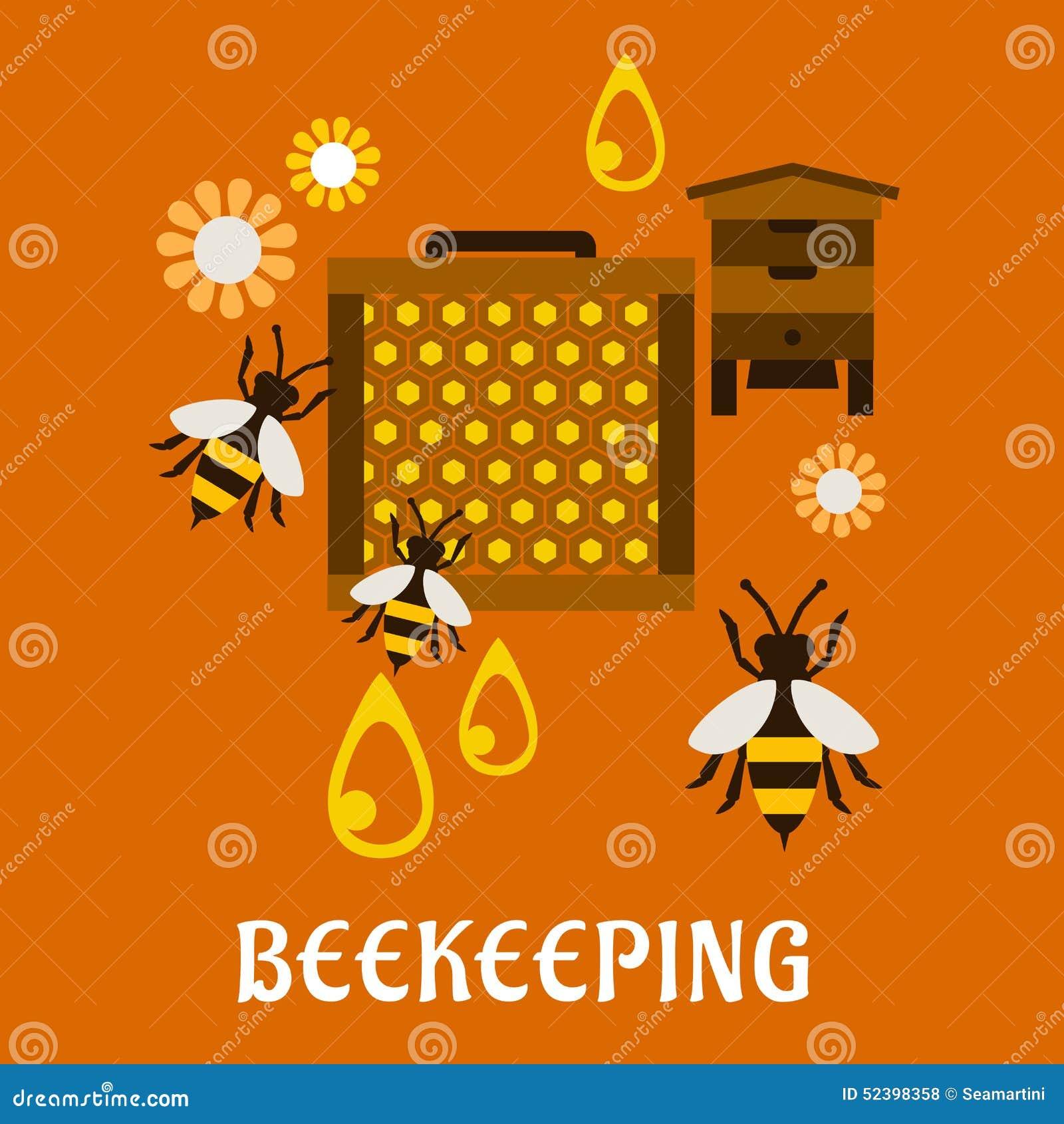 Concepto plano de la apicultura con la colmena y las abejas
