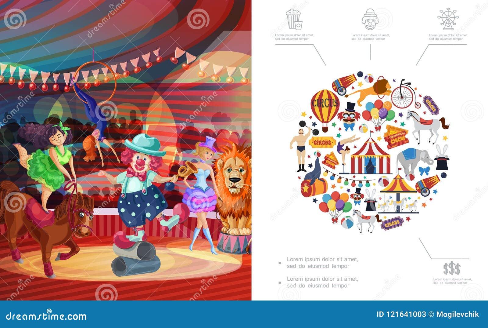 Concepto plano del circo del carnaval