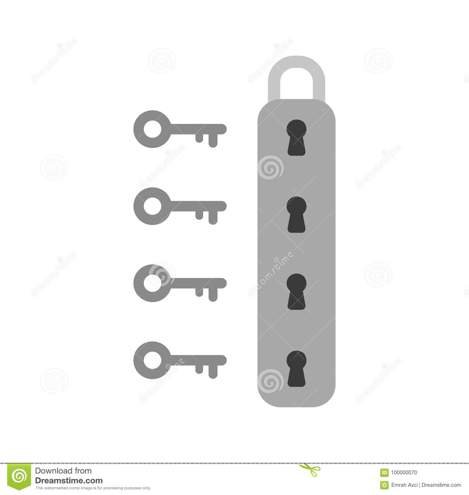 Concepto plano del vector del estilo del diseño de icono del candado con el keyho cuatro