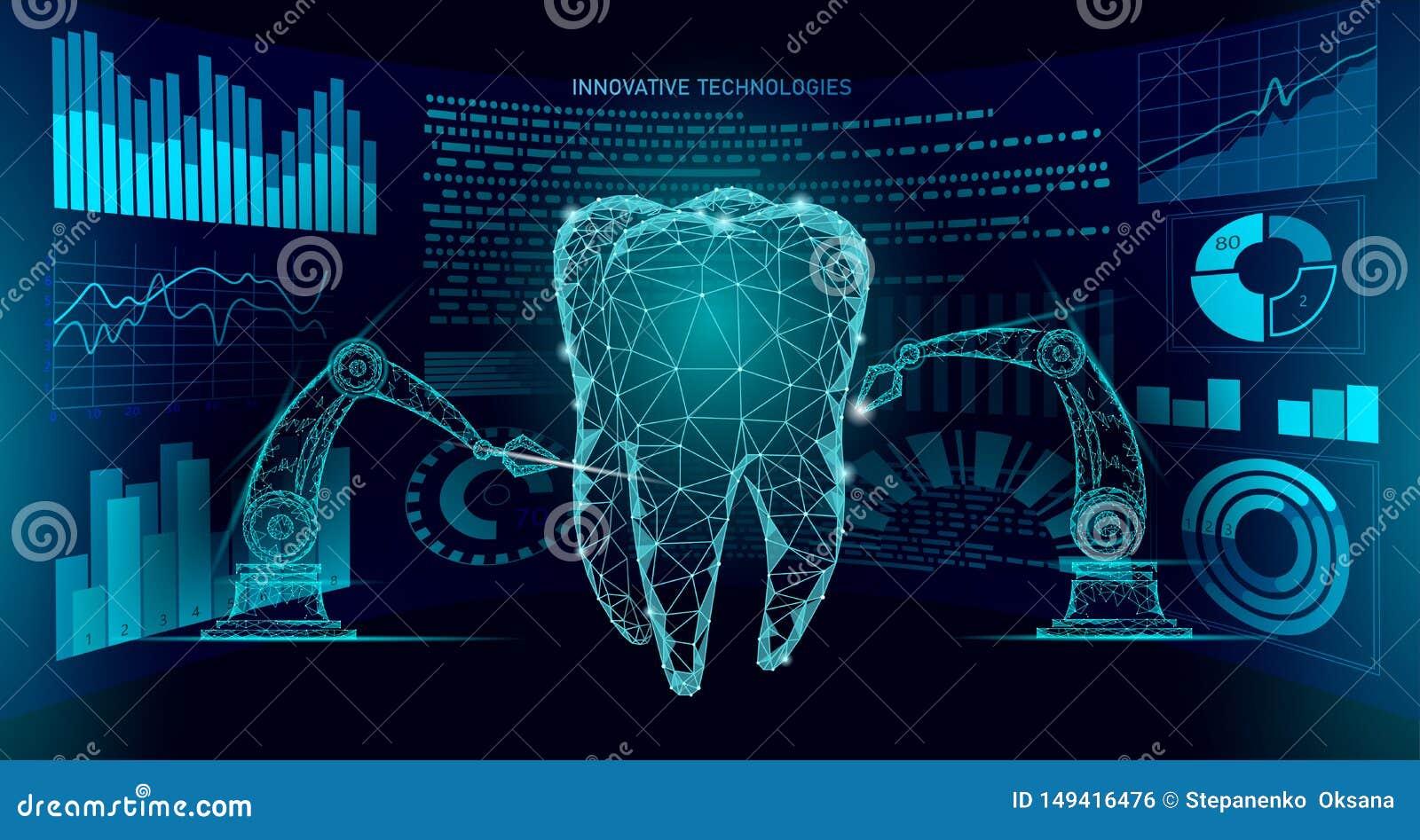 Concepto poligonal del brazo del robot de la innovaci?n del diente 3d Asistencia m?dica dental oral del extracto polivin?lico baj