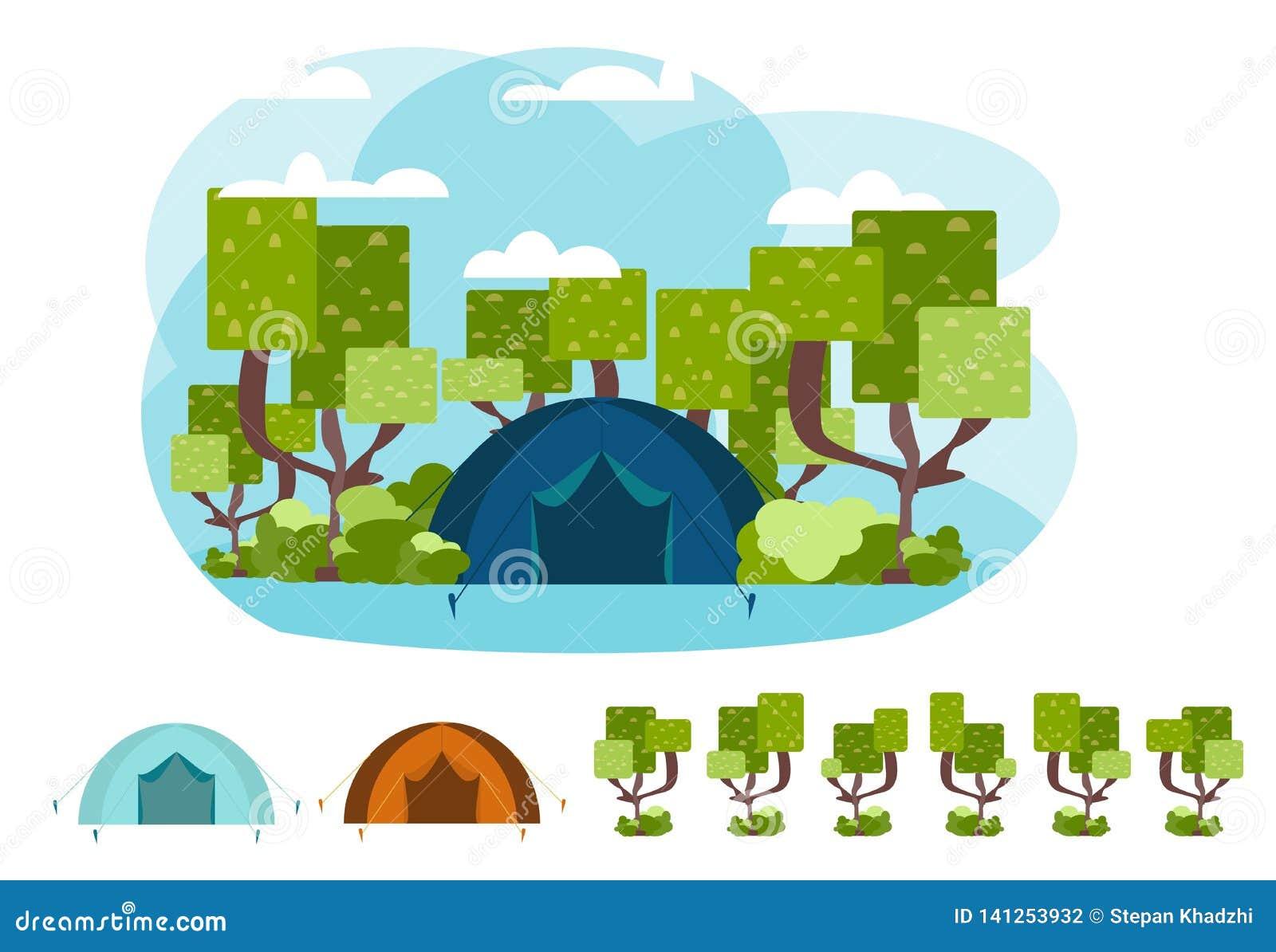 Concepto que acampa del vector con la tienda y la naturaleza