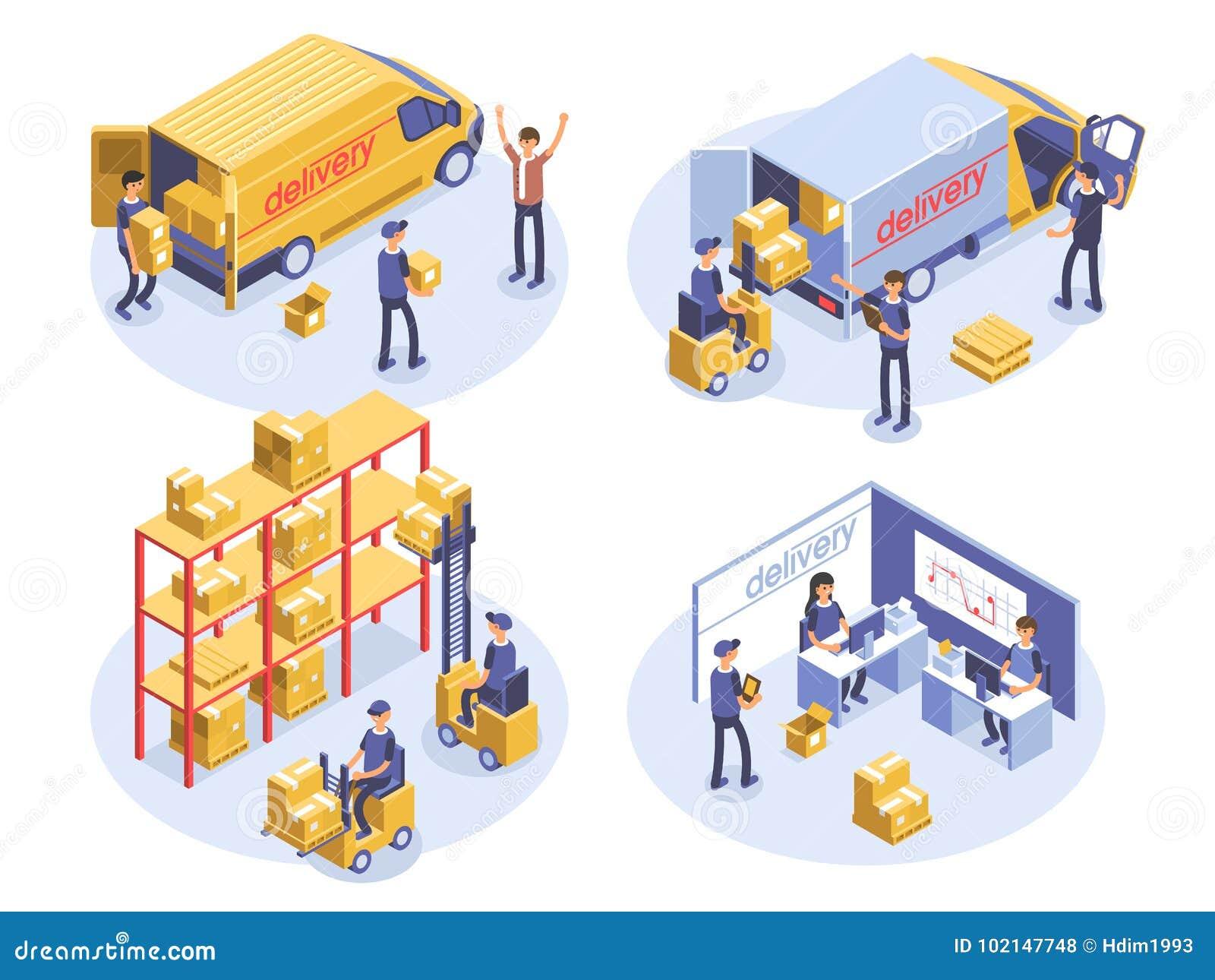 Concepto rápido de la salida Cajas de Van, del hombre y de cartón Mercancías del producto que envían transporte Ejemplo isométric