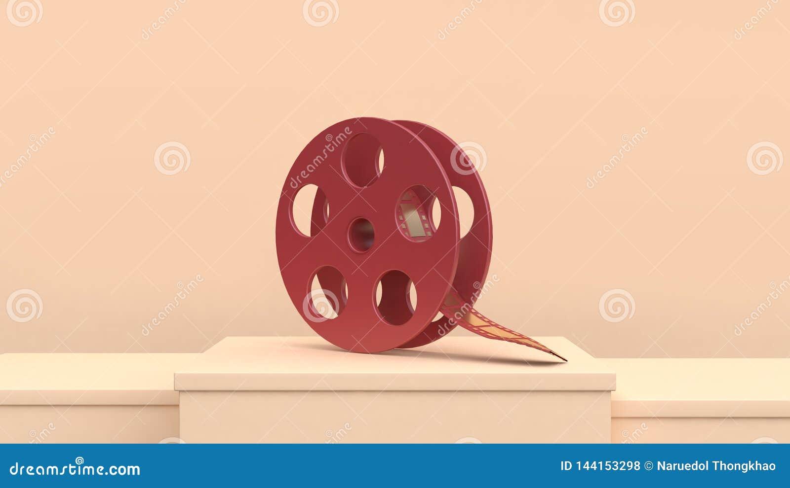 Concepto rojo del cineasta del cine de la película de la escena de la crema del carrete de película del oro de la representación
