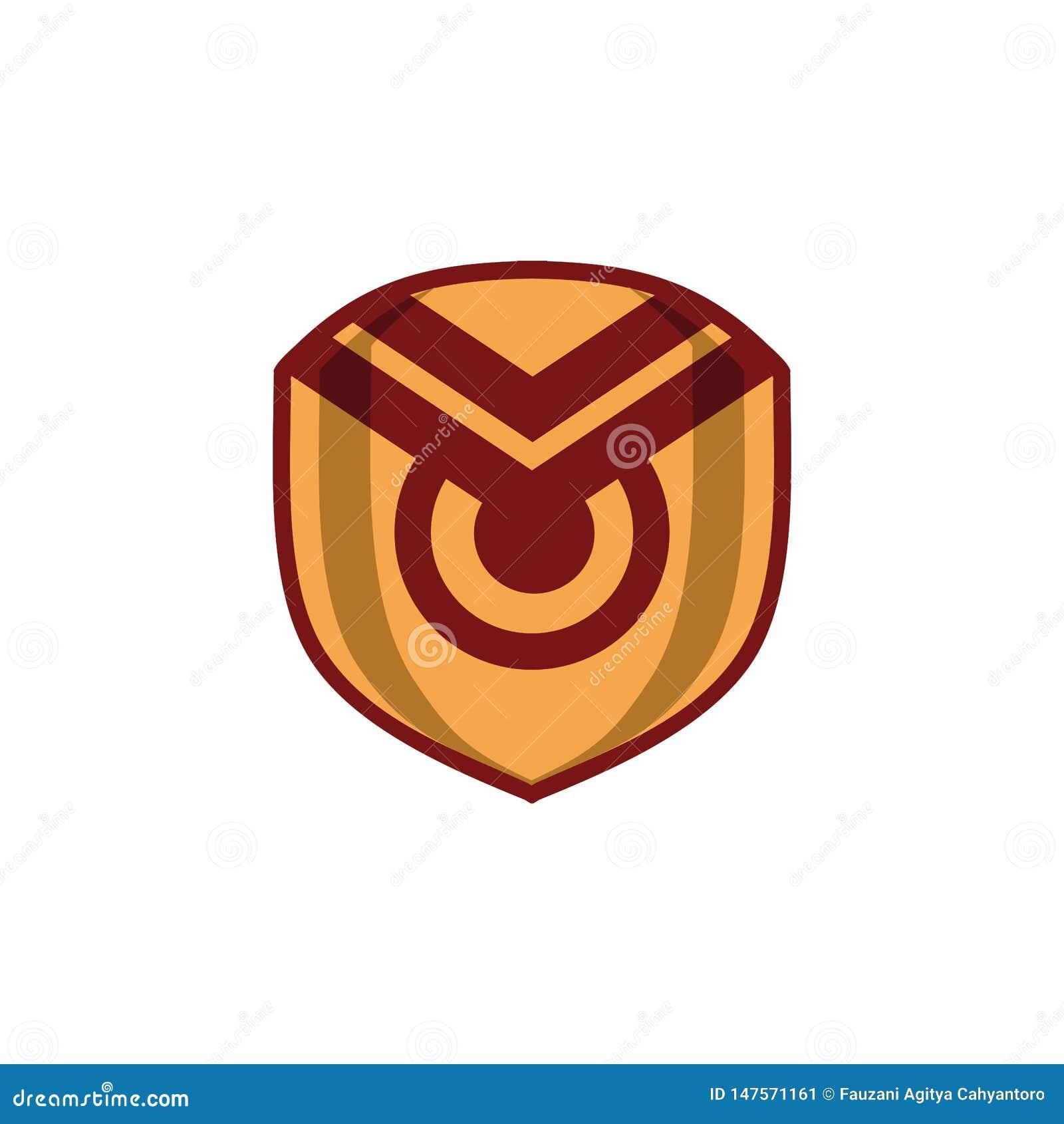 Concepto rojo del logotipo del escudo del oro