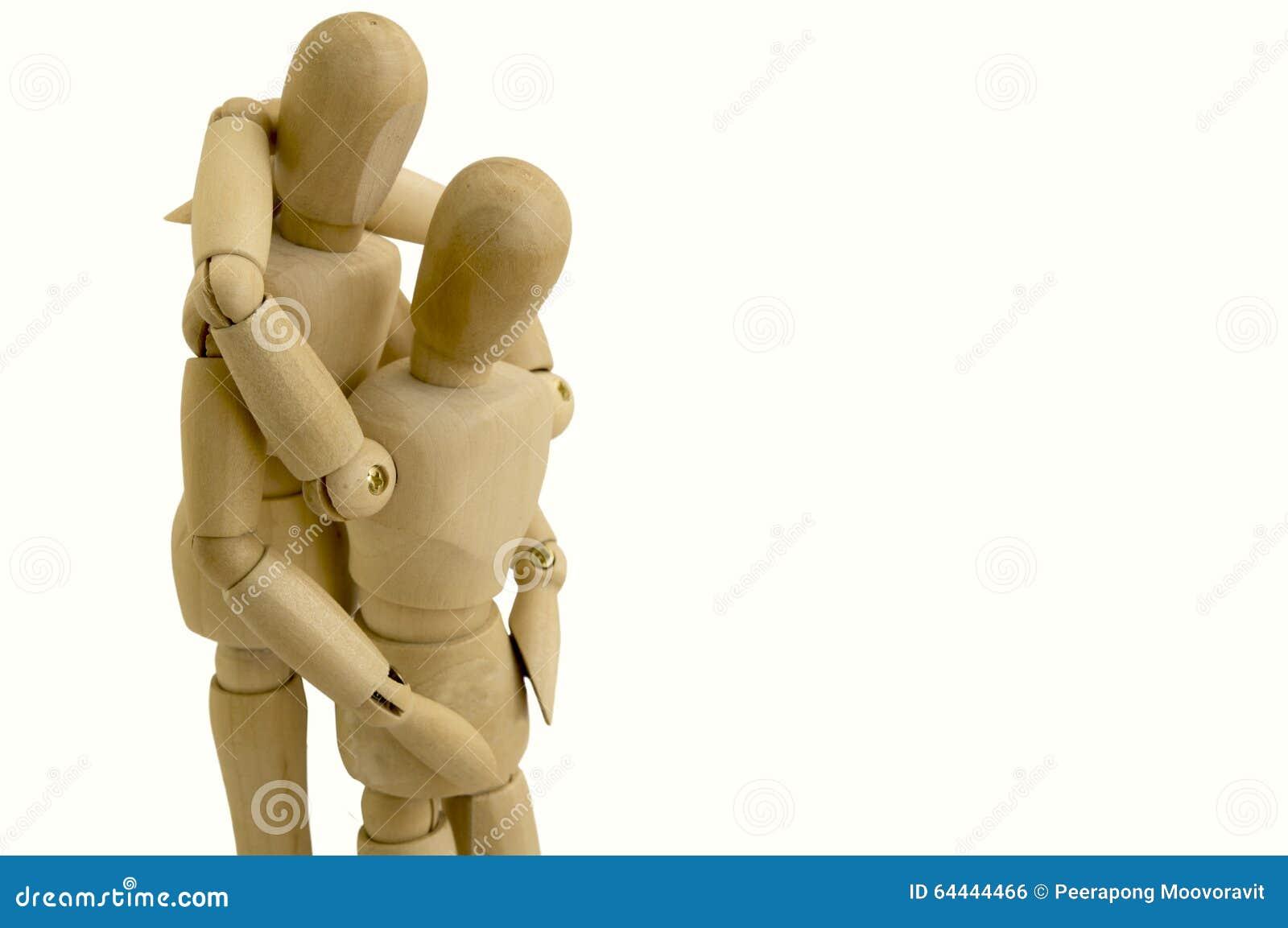 Concepto simulado de madera del abrazo de los pares