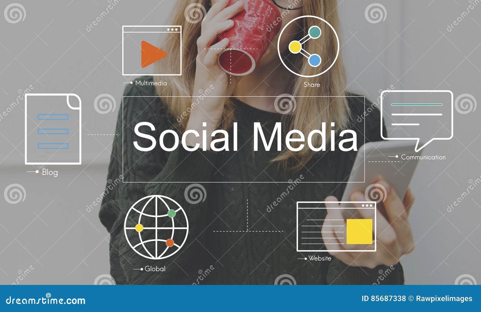 Concepto social de los medios del blog de la charla de los medios