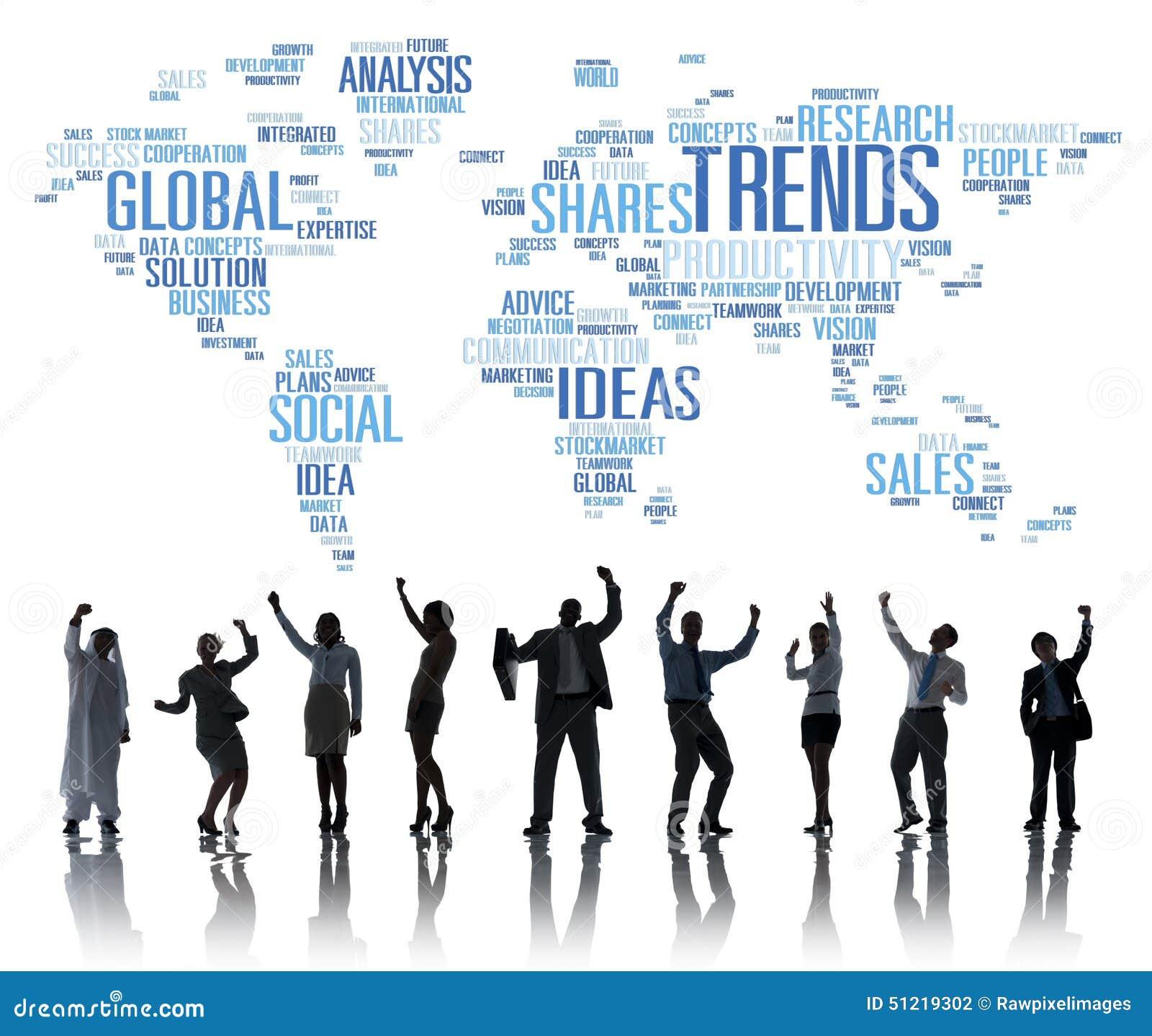 Concepto social del estilo de las ideas del márketing del mapa del mundo de las tendencias