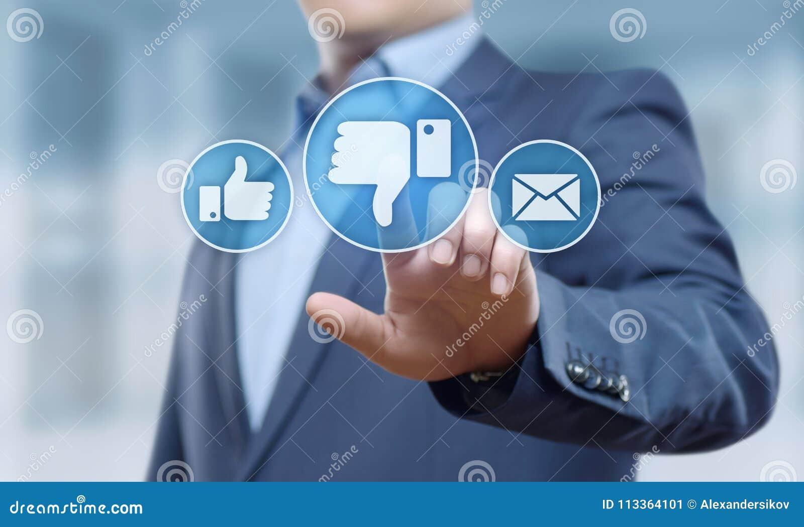 Concepto social del Internet del negocio de la reacción del botón de la aversión