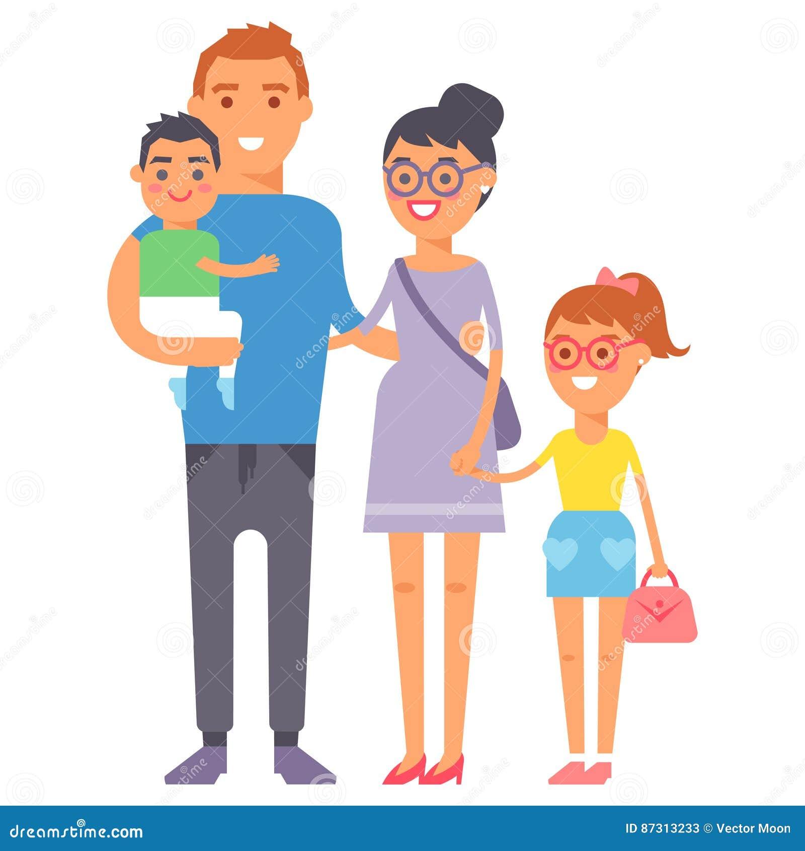 Concepto sonriente y padre casual, alegres, forma de vida del parenting de la unidad del grupo de la felicidad adulta de la gente