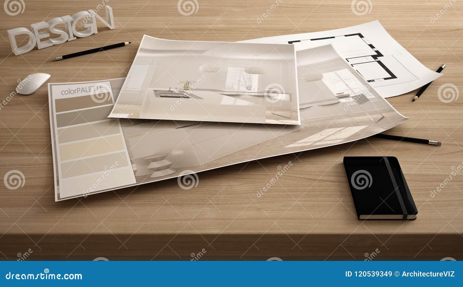 Concepto, tabla cercana para arriba con el proyecto interior de la renovación, plan y paleta de colores del diseñador del arquite