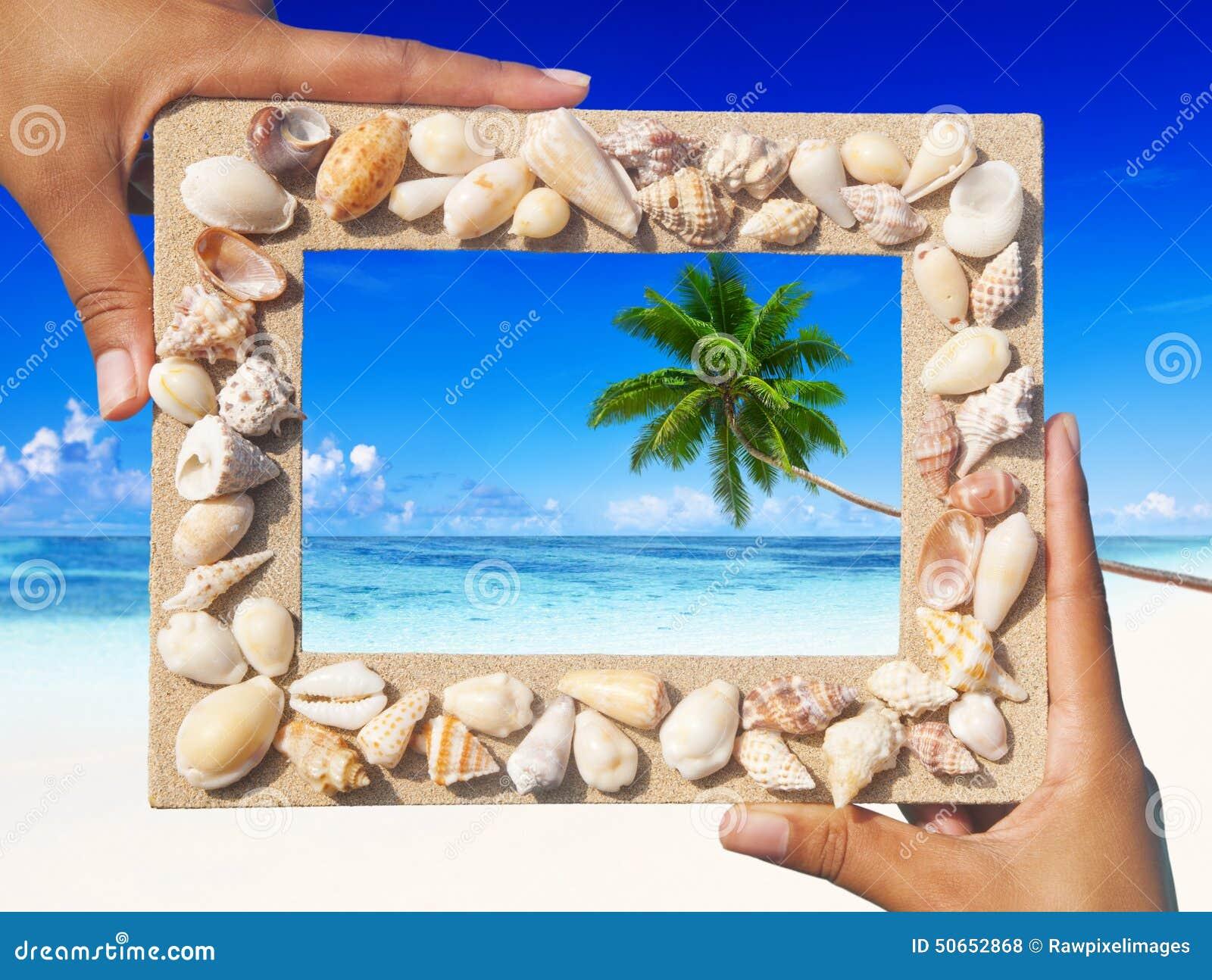 Concepto Tropical Del Verano Del Recuerdo De La Playa Del Marco De ...