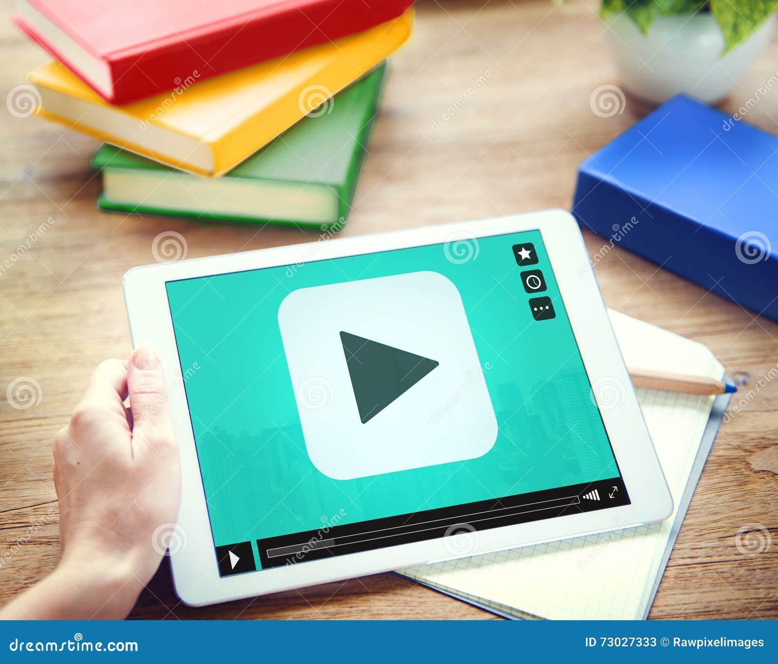 Concepto video audio de la tecnología del botón de reproducción medios