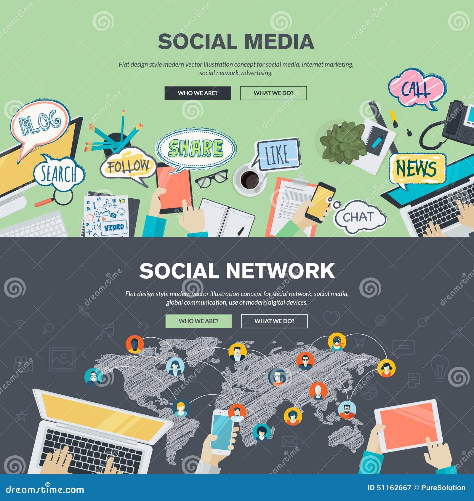 Conceptos de diseño planos para los medios sociales y la red social