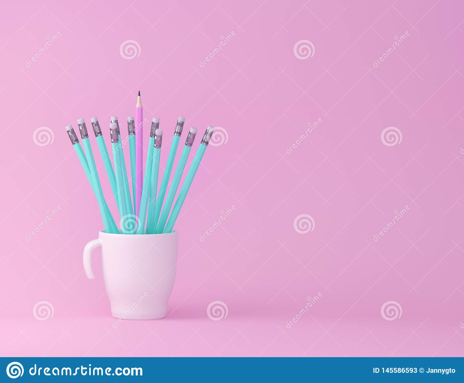 Conceptos de la educación de la inspiración de la creatividad con el lápiz y la taza en fondo rosado del color en colores pastel