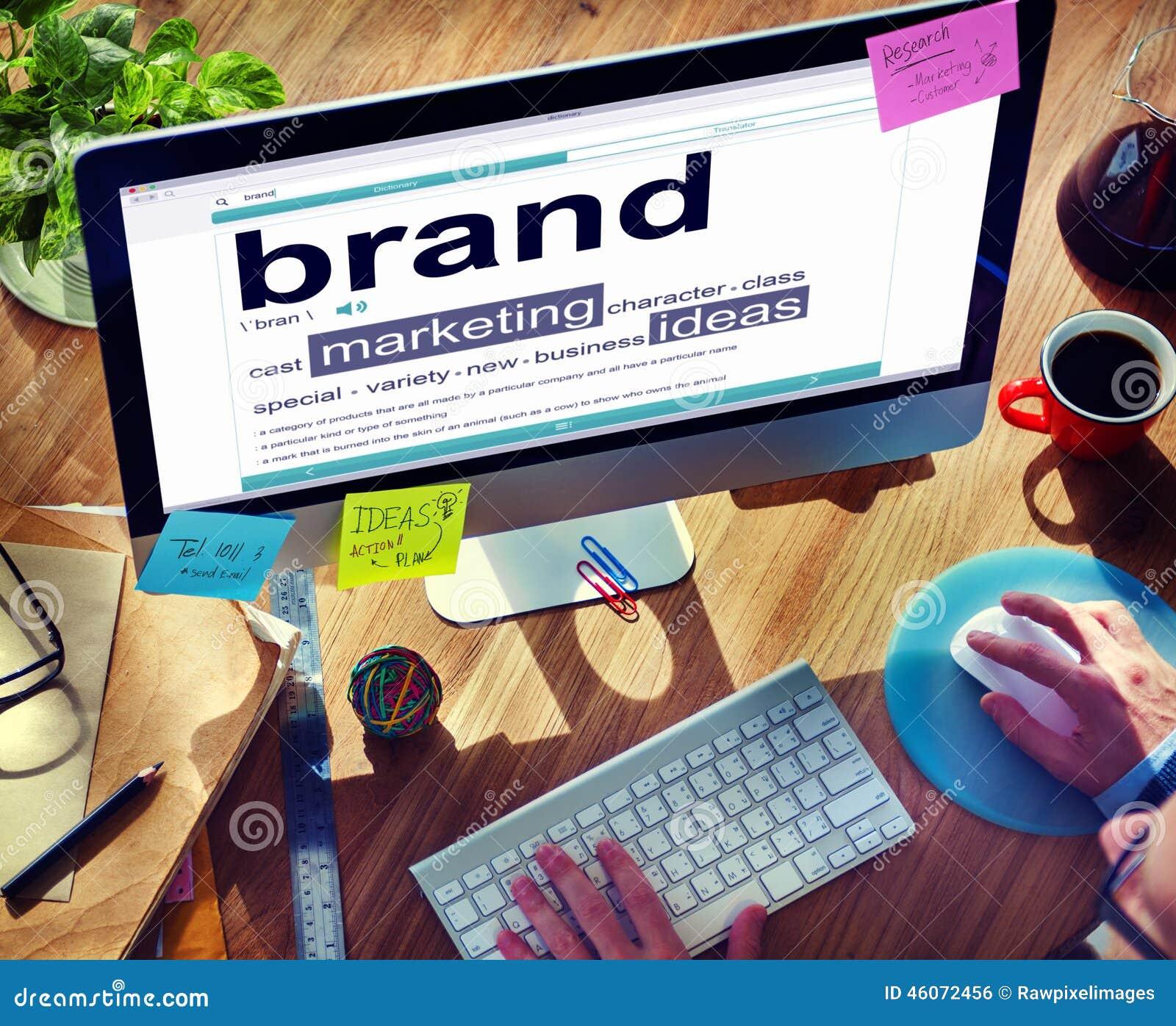 Conceptos de las ideas del marketing de marca del diccionario de Digitaces