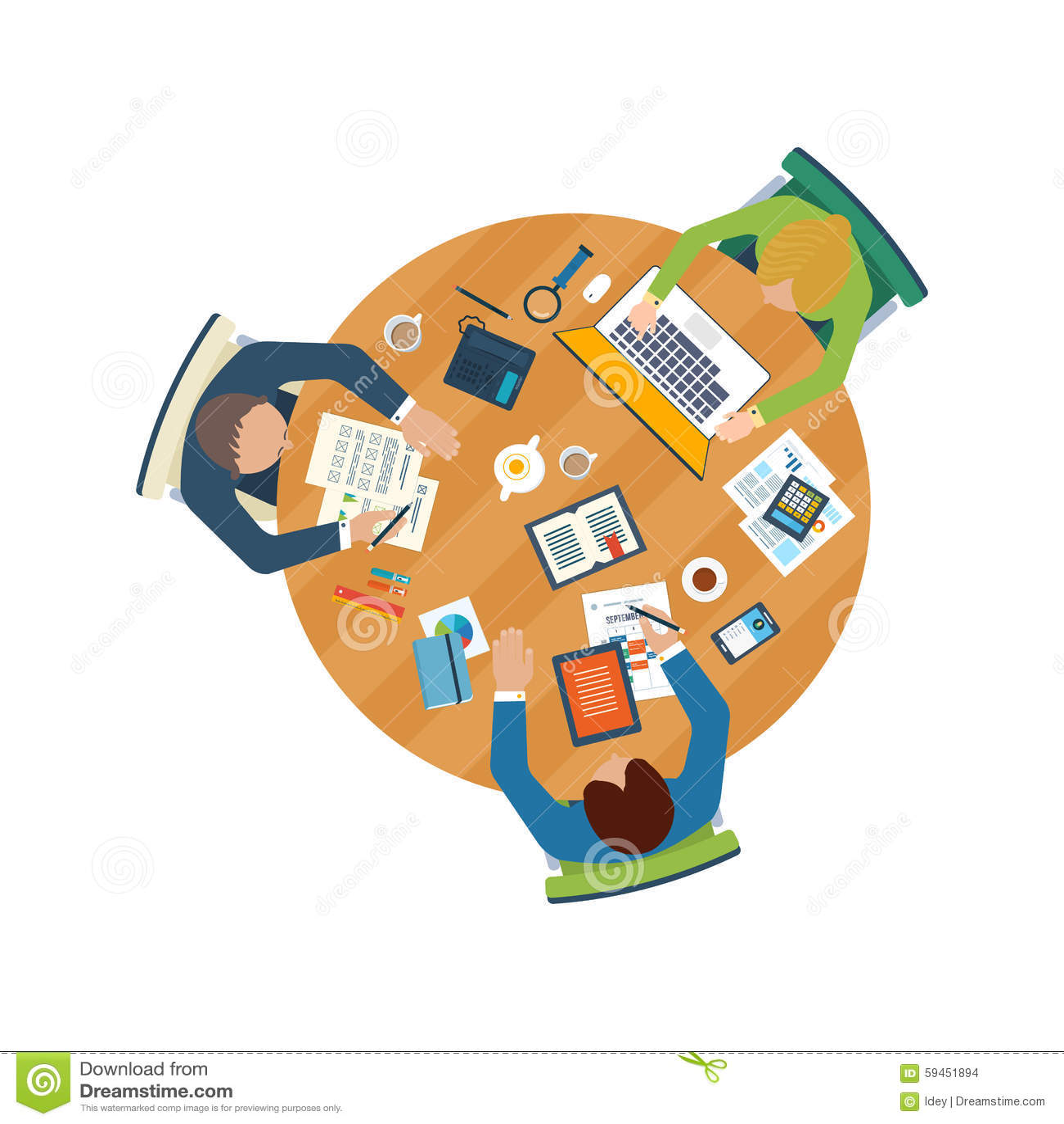 Conceptos planos del ejemplo del diseño para el análisis de negocio en la reunión, el trabajo del equipo, el informe financiero,