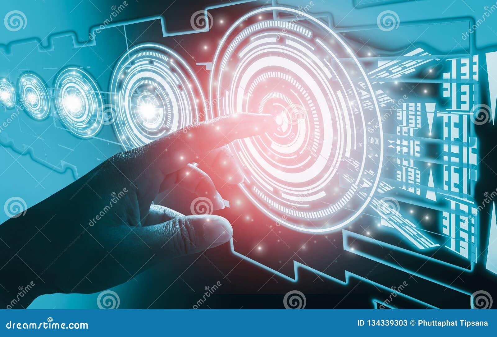 Concepts d abrégé sur interface de contact de doigt, impliquant la technologie et la conception futuristes très modernes, de l hu