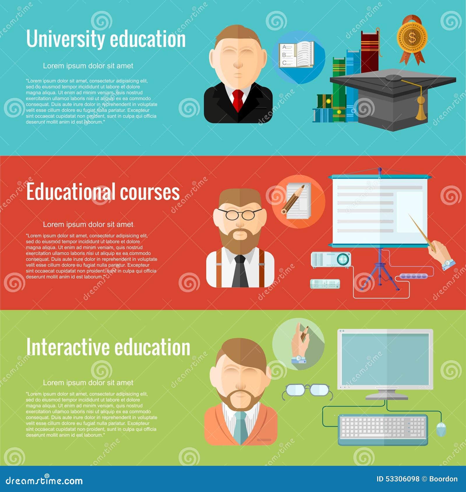 Concepts de construction plats pour l éducation defferent d université d éducation, cours éducatifs, educationa interactif