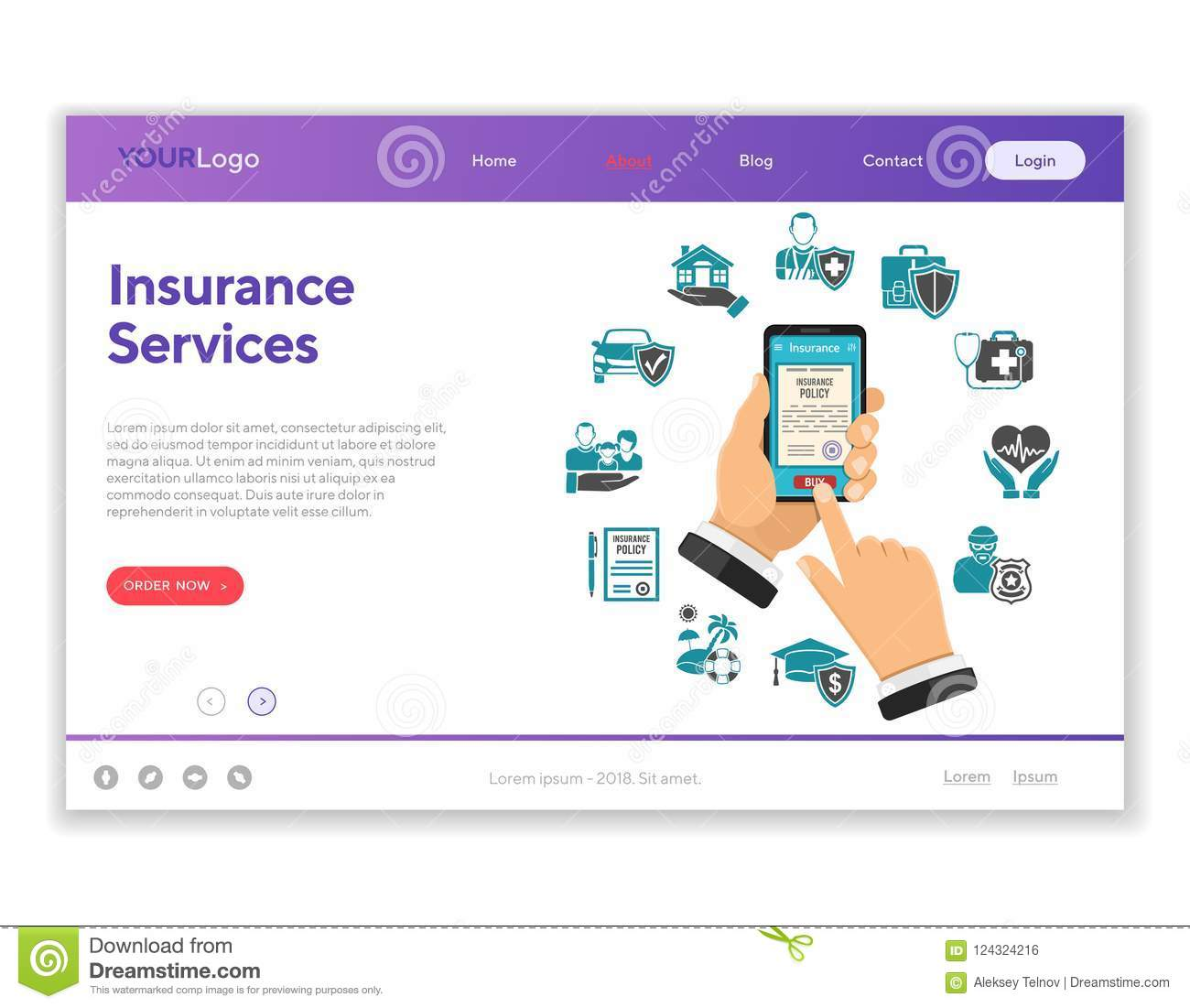 smartphone insurance contract template  Online Insurance Services Concept Stock Vector - Illustration of ...