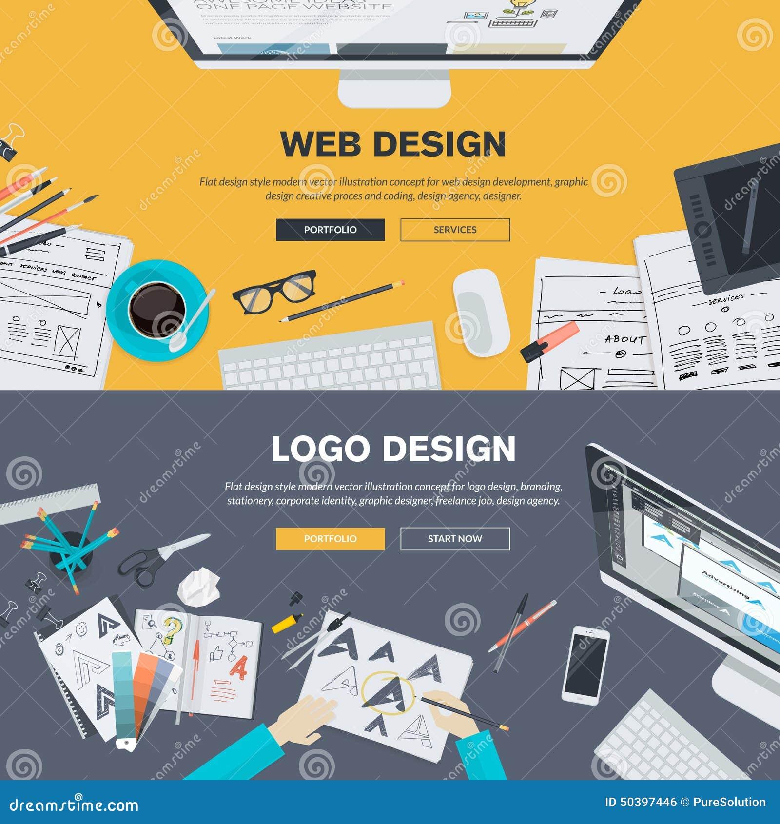 Concepts plats d illustration de conception pour le développement de web design, conception de logo