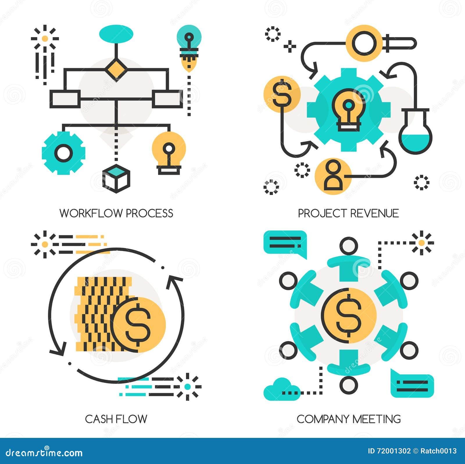 Workflow Process Icon Cartoon Vector
