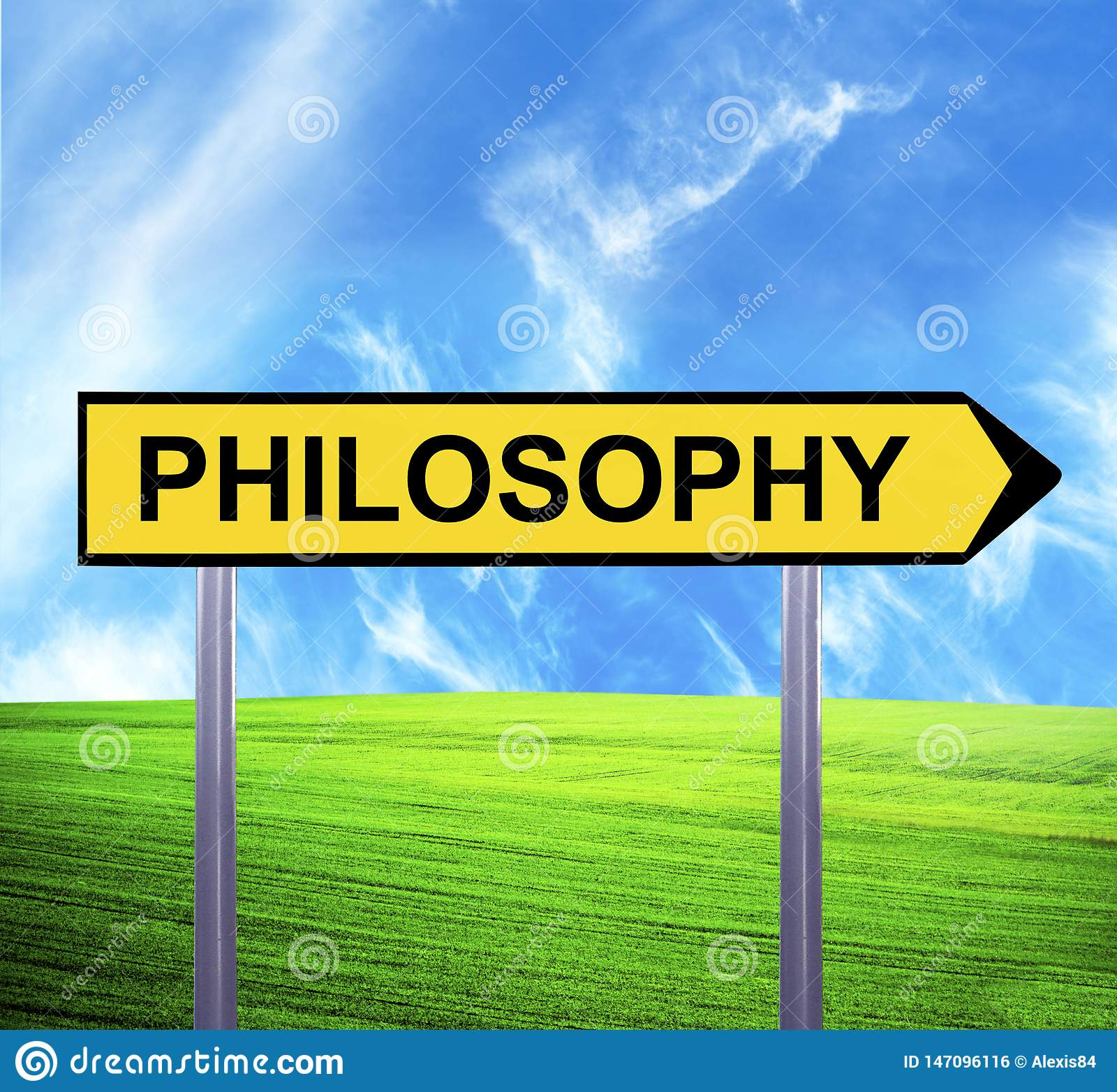 Conceptual arrow sign against beautiful landscape with text - PHILOSOPHY