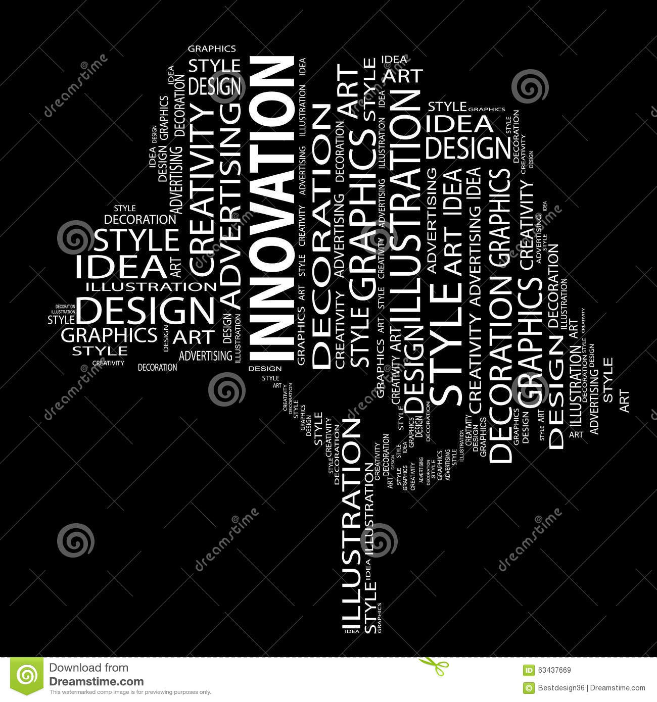 Conceptual Art Design Tree Word Cloud Illustration 63437669