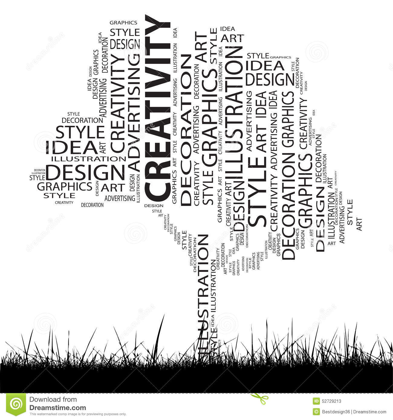 Conceptual Art And Design Tree Word Cloud Stock Vector