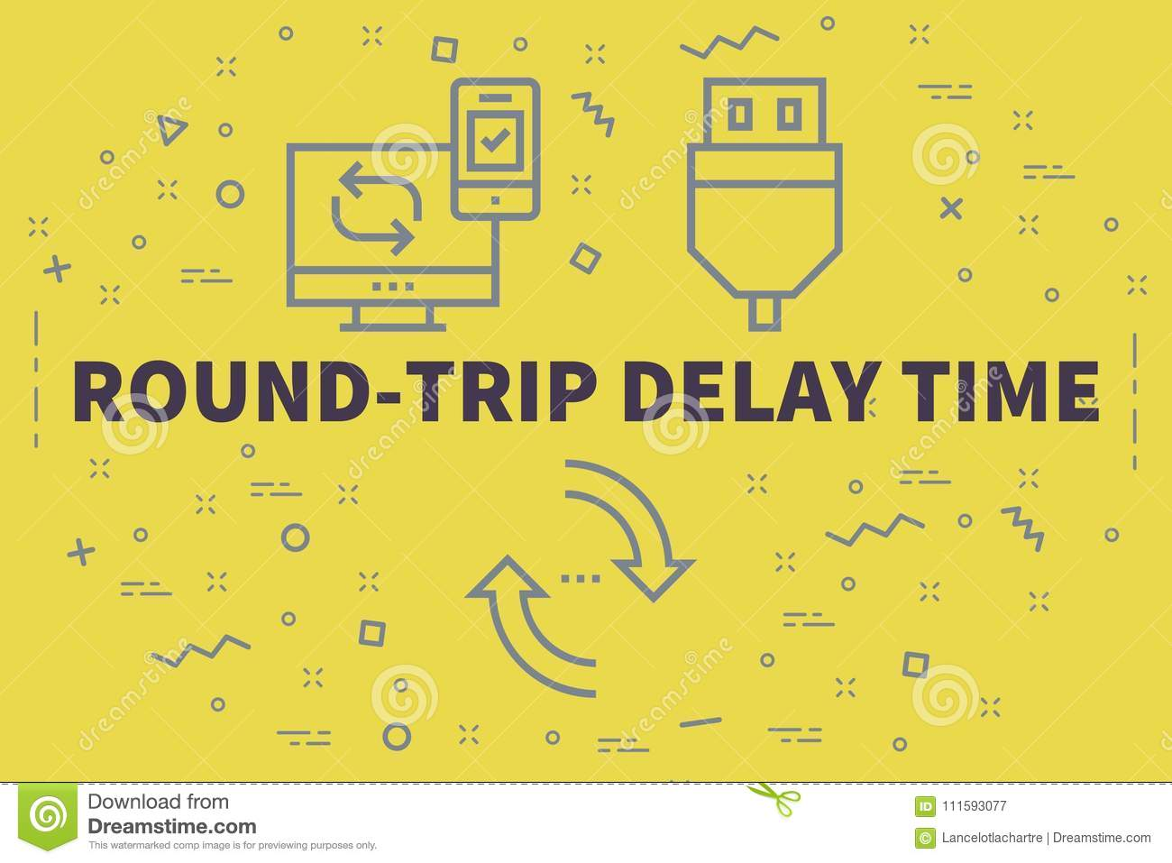 conceptual business illustration with the words round trip delay